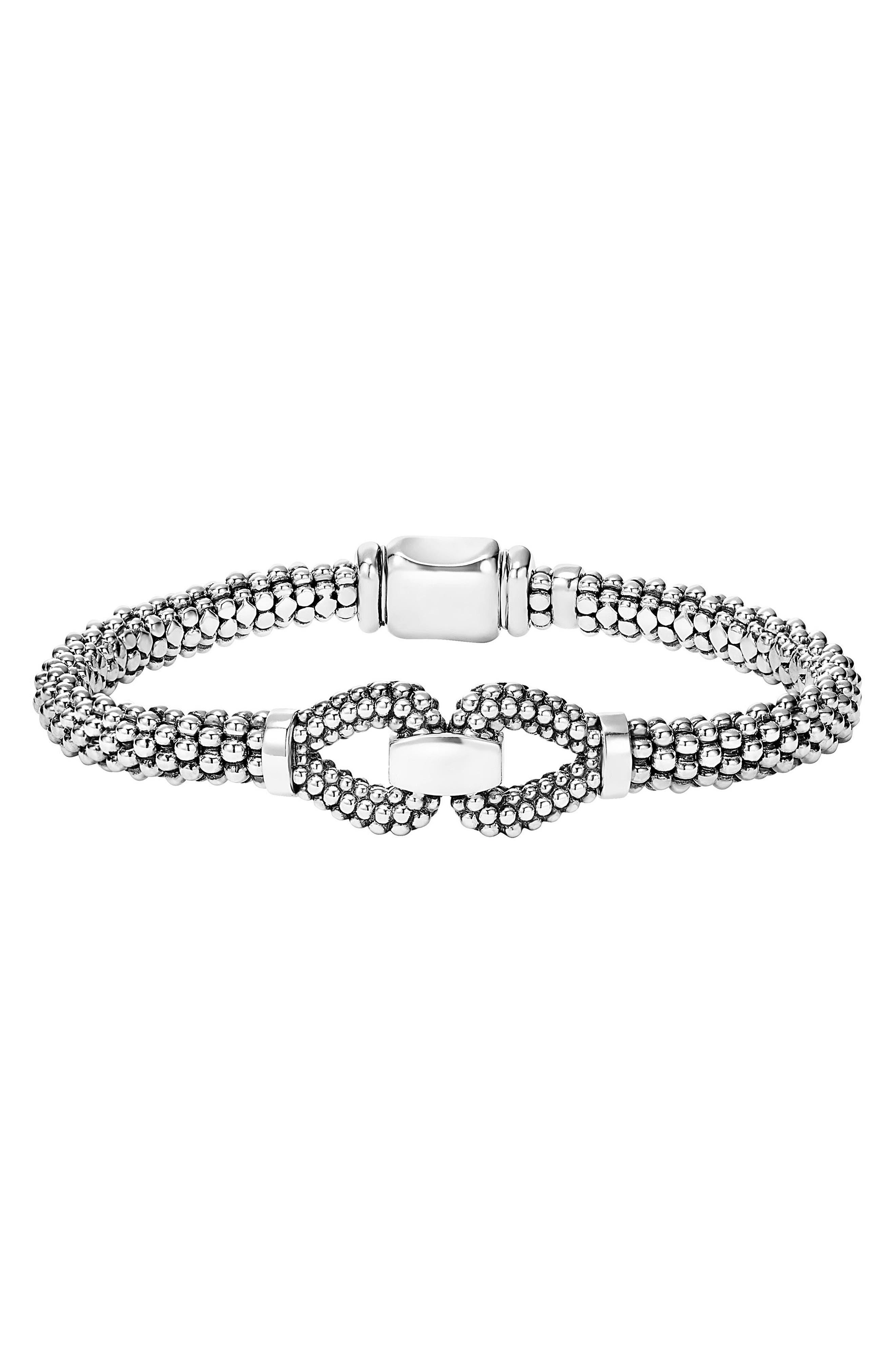 Derby Caviar Bracelet,                             Main thumbnail 1, color,                             Silver
