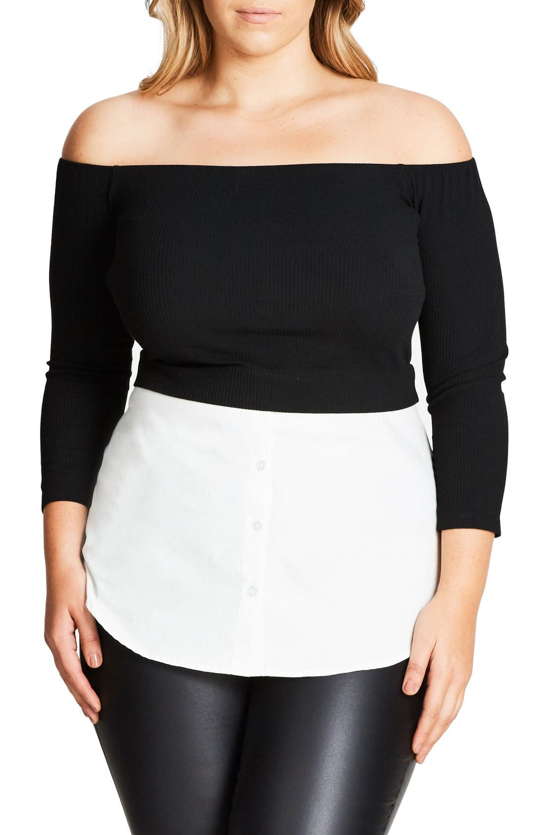 Layer Look Off the Shoulder Top,                             Main thumbnail 1, color,                             Black