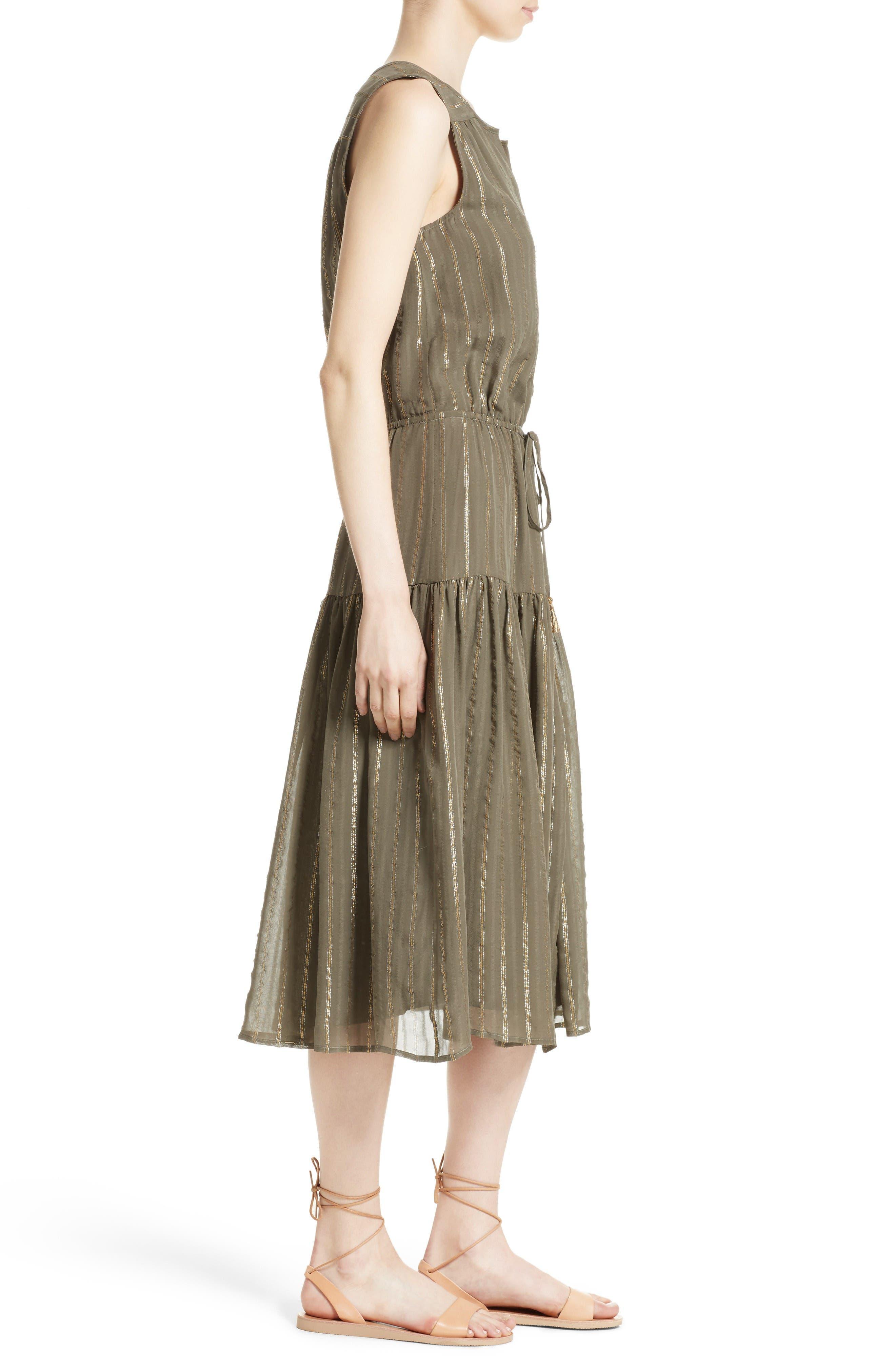Alternate Image 3  - Joie Klea Metallic Stripe Silk Midi Dress