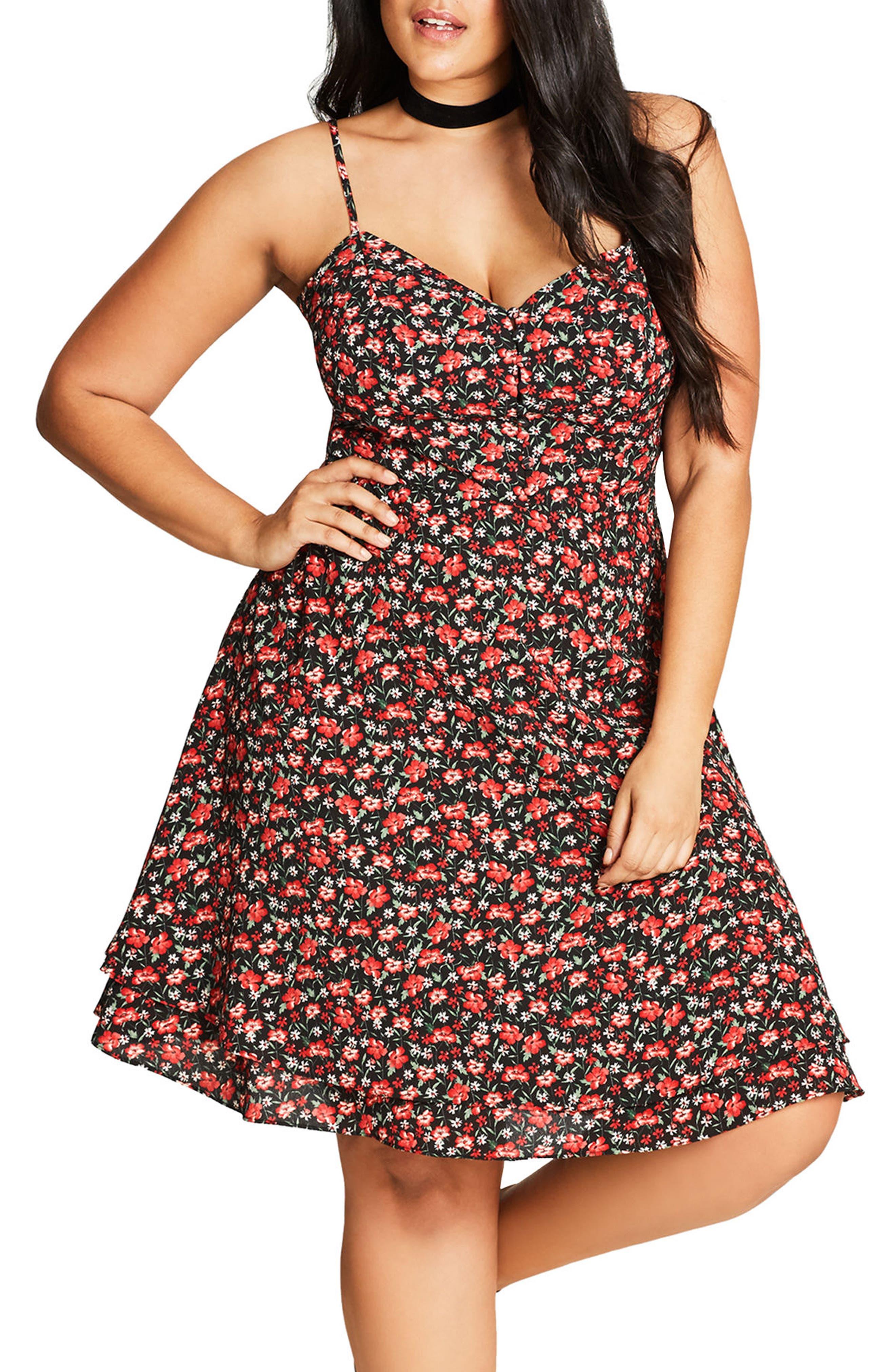 Ditsy Floral Fit & Flare Dress,                             Main thumbnail 1, color,                             Saffron