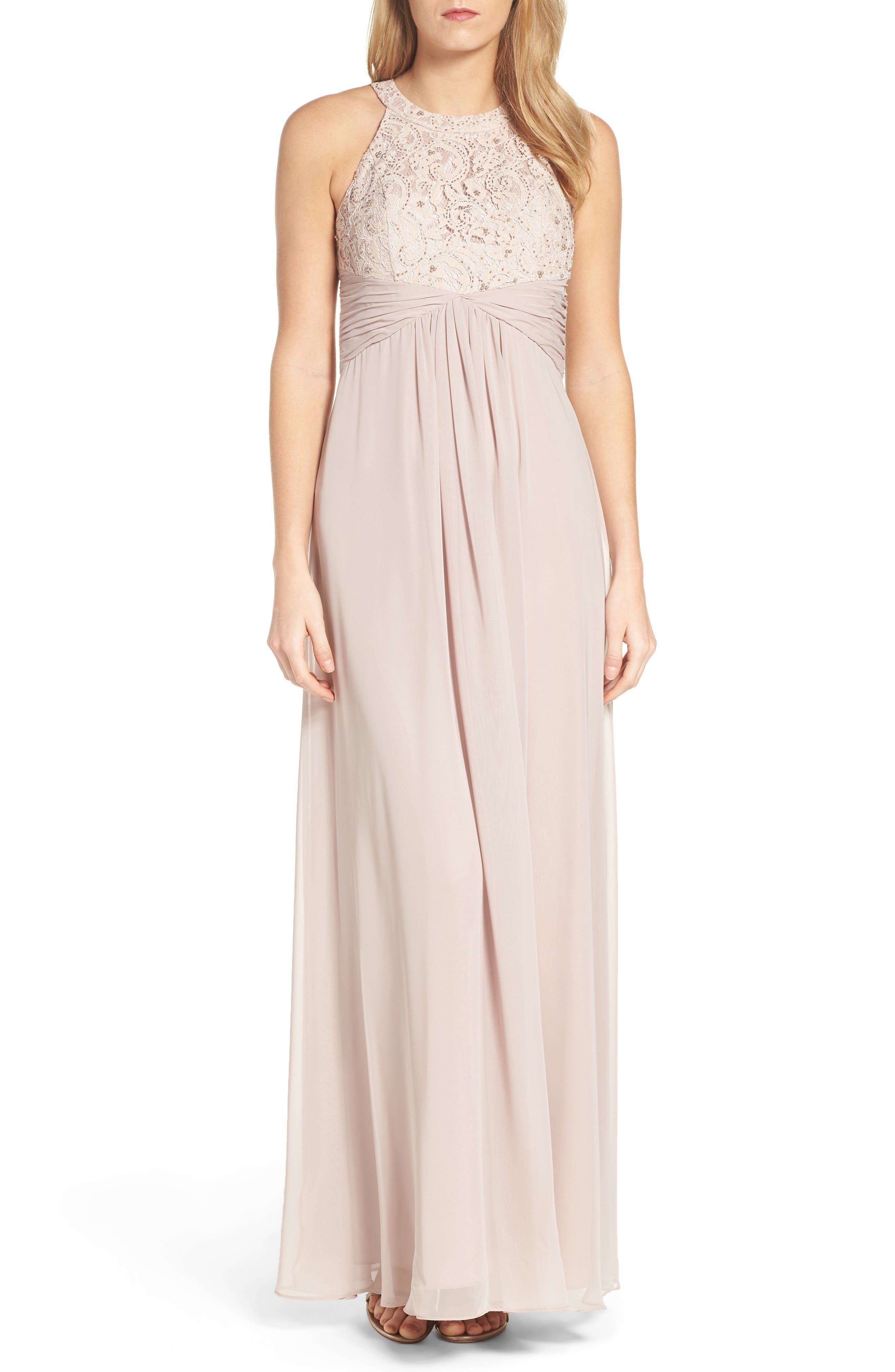 Beaded Lace & Chiffon Gown,                         Main,                         color, Champagne