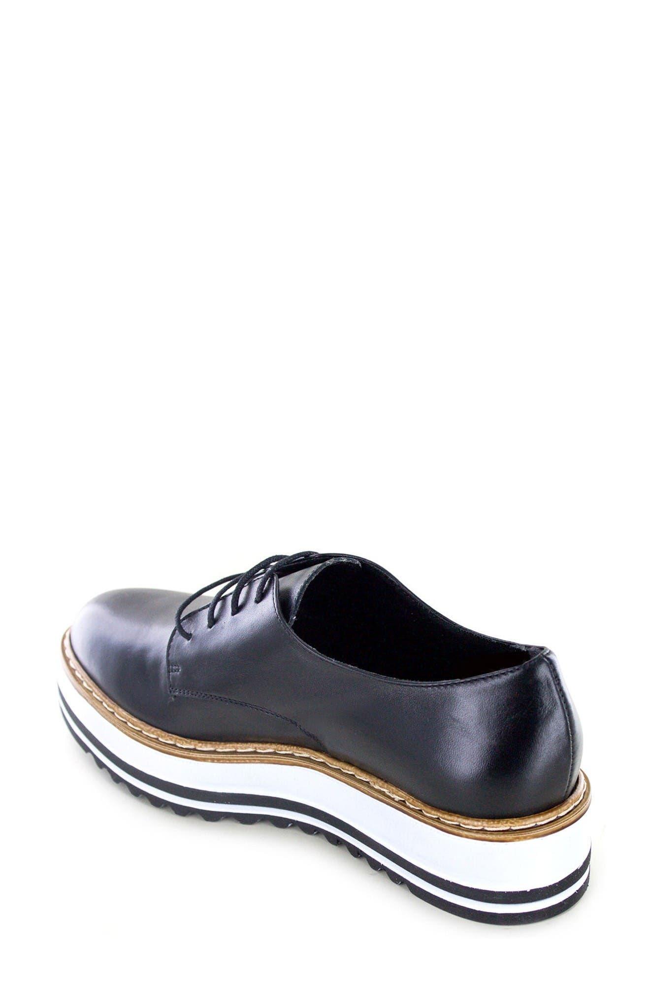 Belinda Platform Oxford,                             Alternate thumbnail 2, color,                             Black Leather