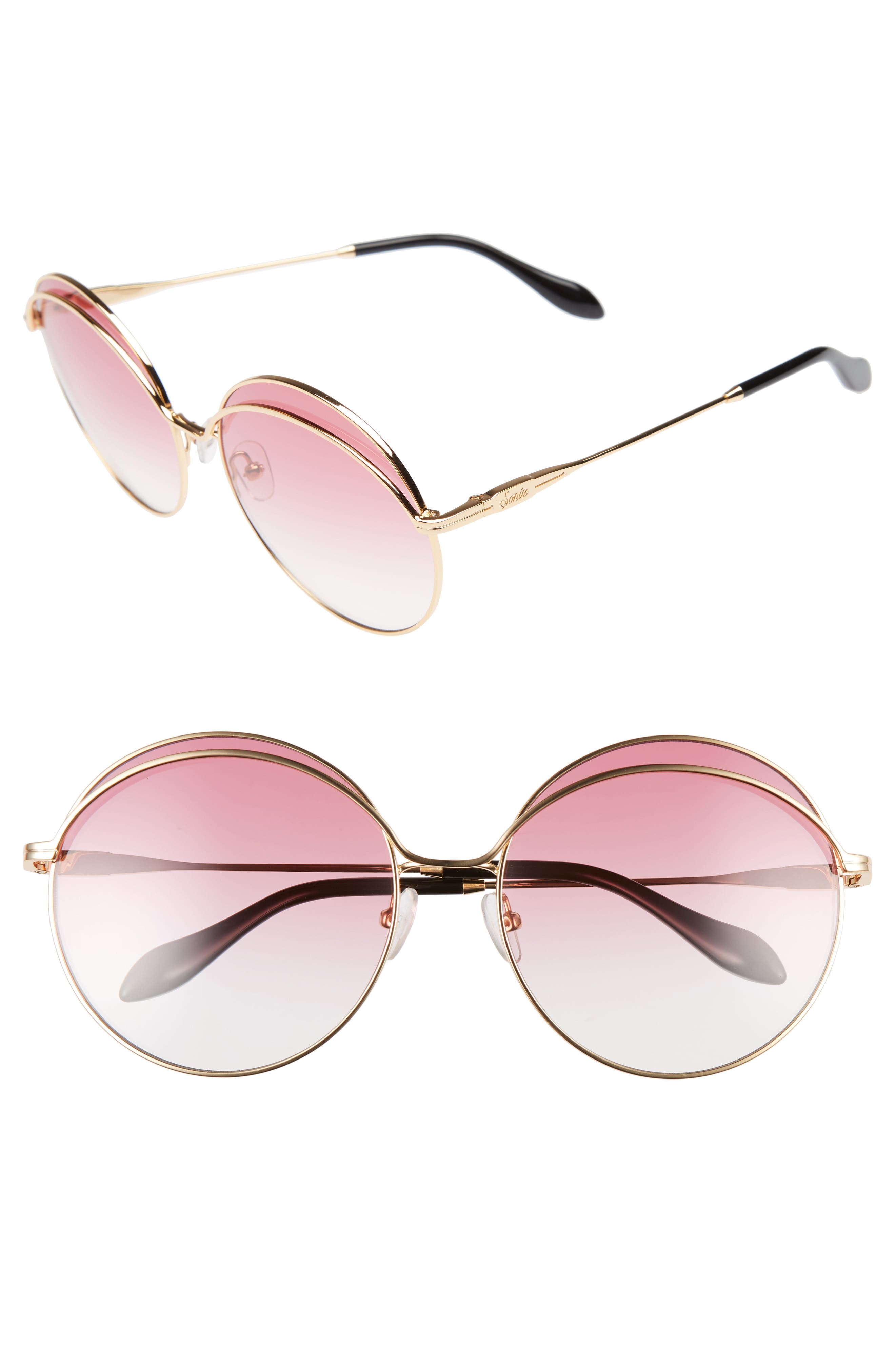 Oasis 63mm Round Sunglasses,                         Main,                         color, Gold Wire/ Rouge Tint