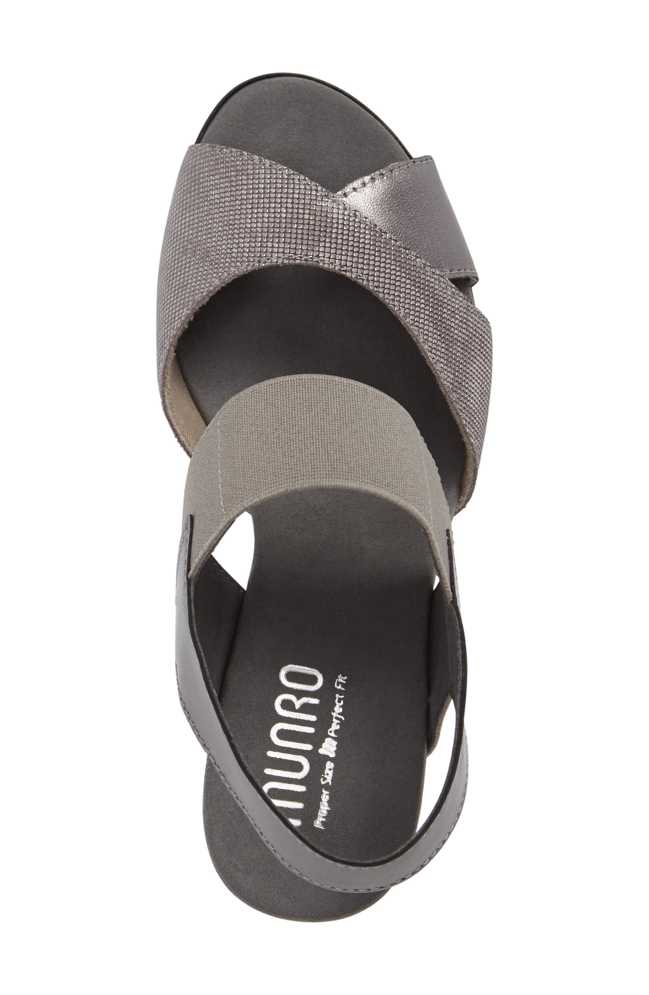 Darling Mixed Finish Slingback Sandal,                             Alternate thumbnail 5, color,                             Pewter Leather