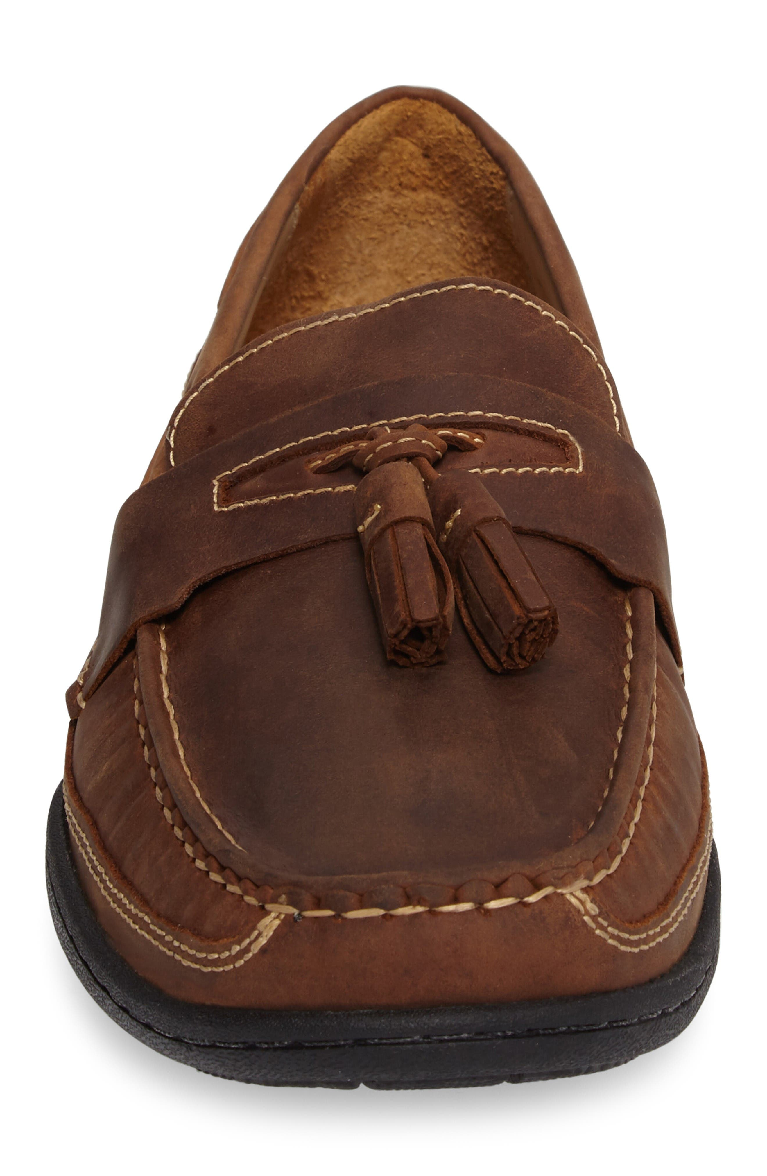 Fowler Tasseled Loafer,                             Alternate thumbnail 4, color,                             Tan Leather