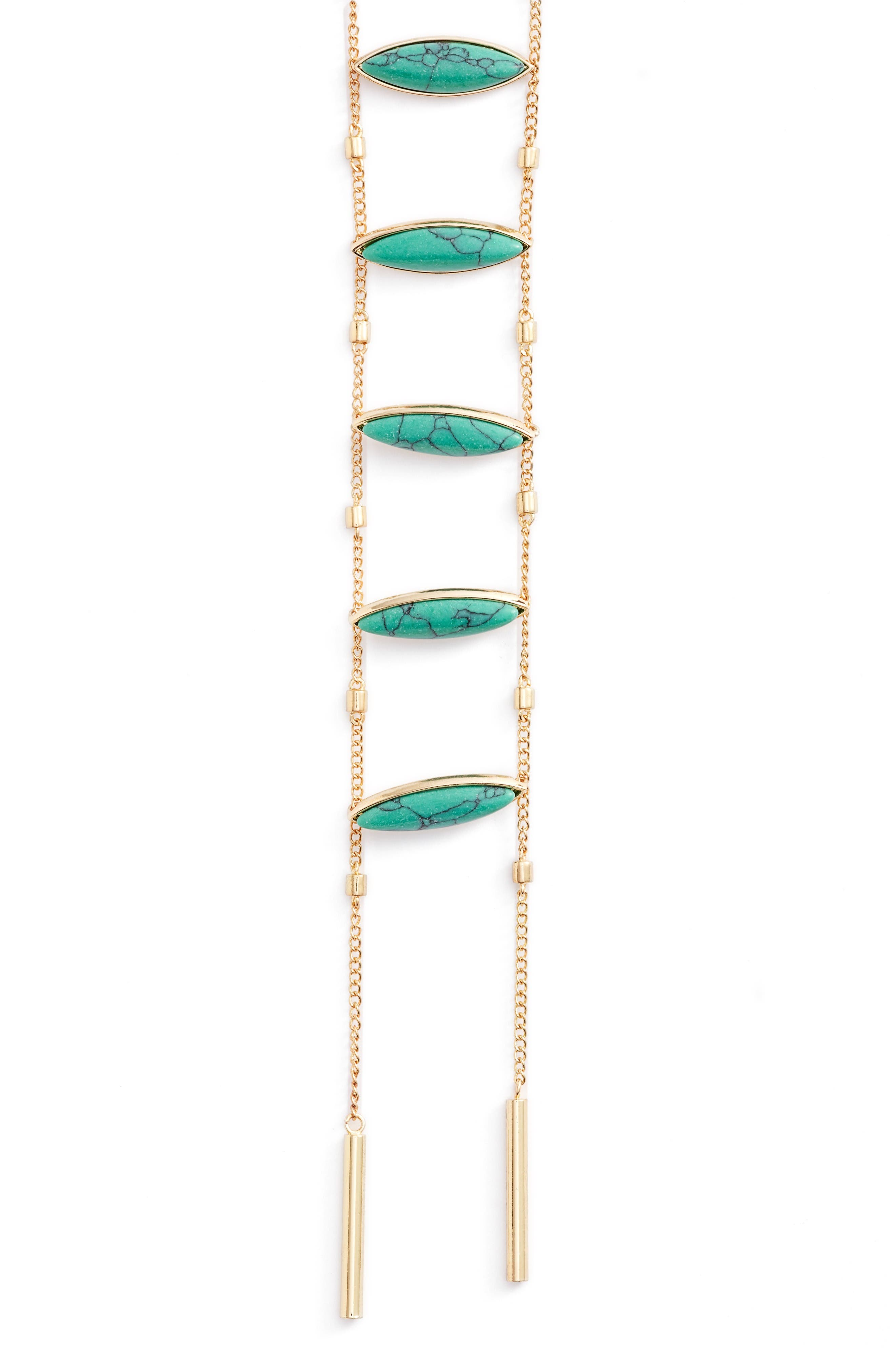 Camila Necklace,                             Alternate thumbnail 2, color,                             Gold / Turquoise