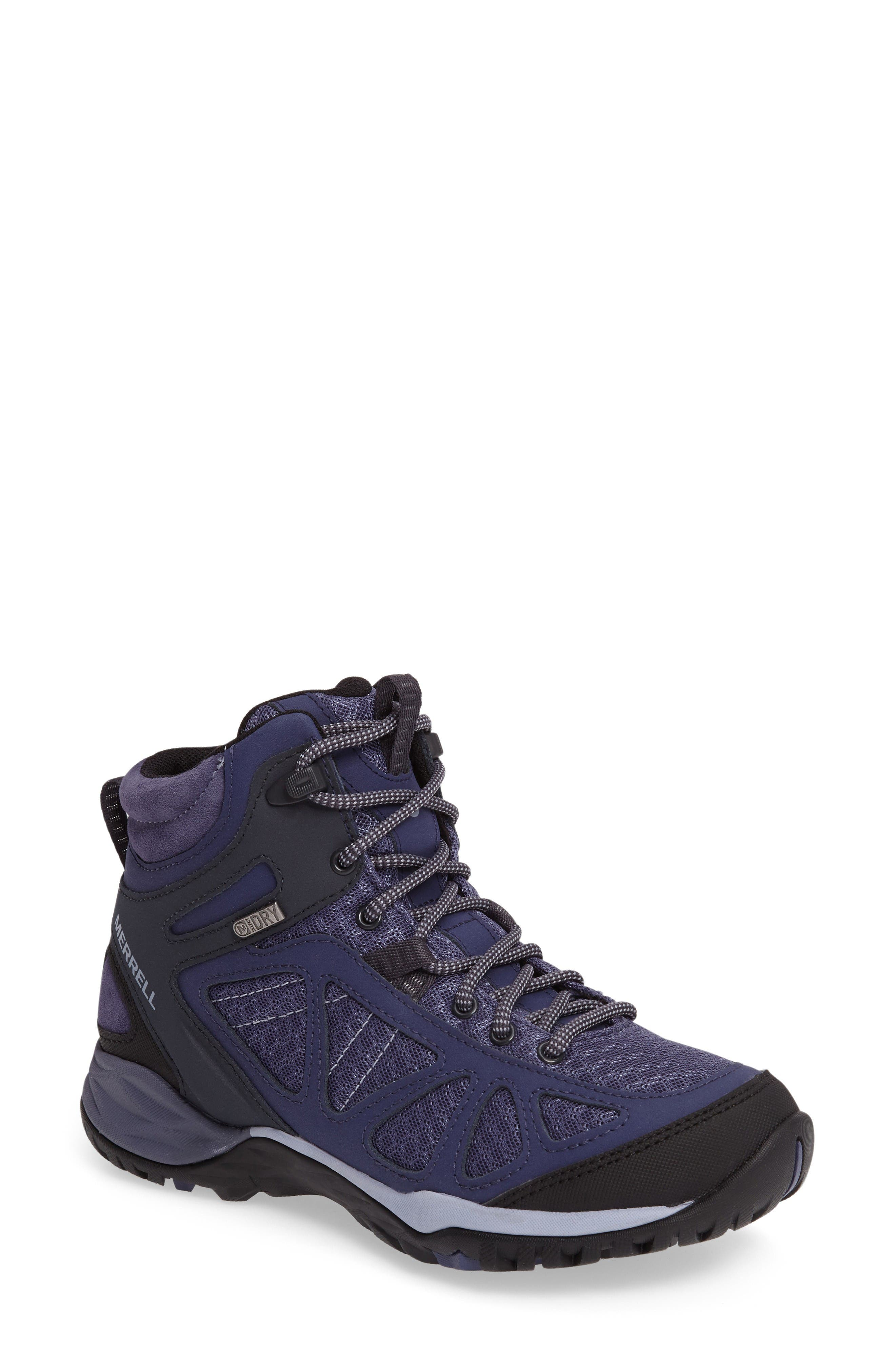 Siren Sport Q2 Waterproof Mid Top Sneaker,                             Main thumbnail 1, color,                             Crown Blue Nubuck Leather