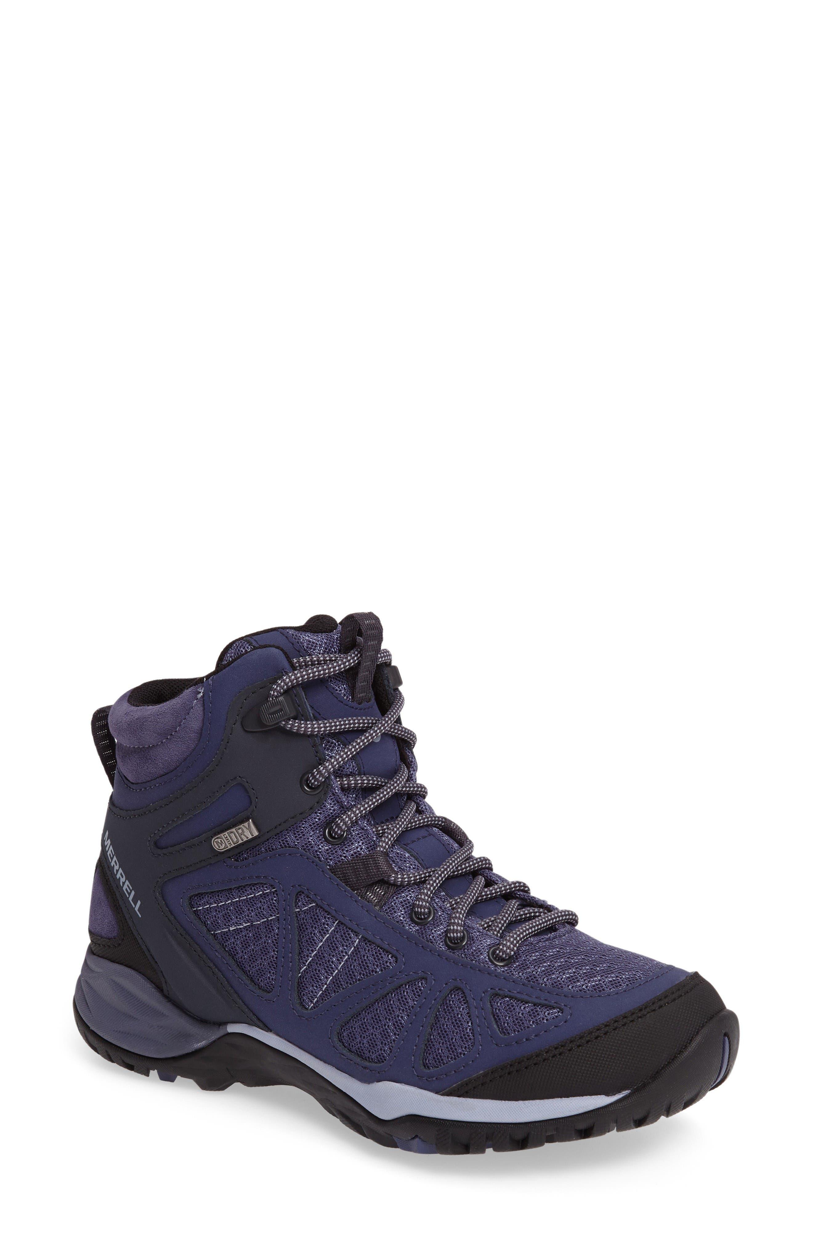 Siren Sport Q2 Waterproof Mid Top Sneaker,                         Main,                         color, Crown Blue Nubuck Leather