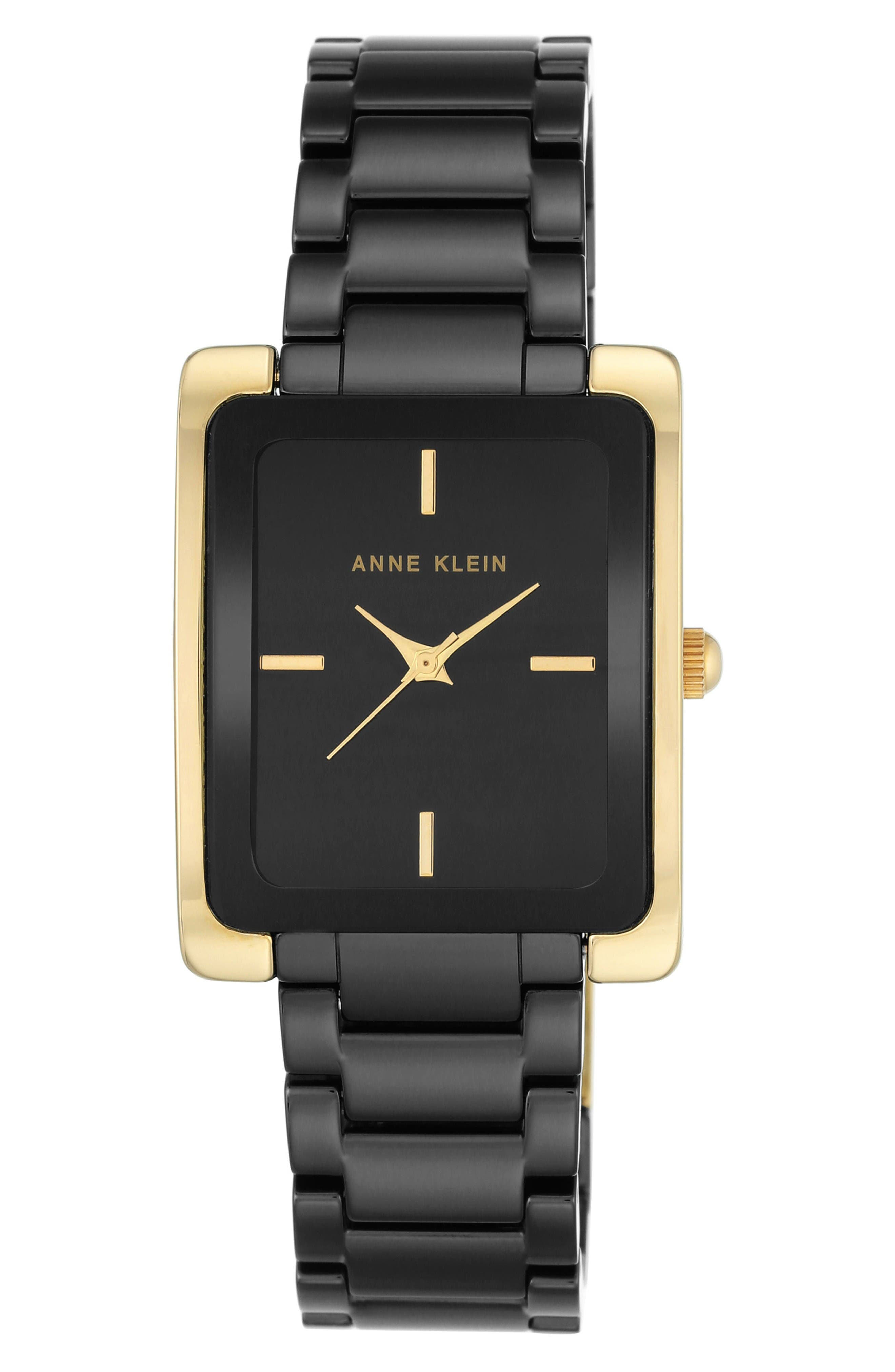 Rectangle Ceramic Bracelet Watch, 28mm x 35mm,                             Main thumbnail 1, color,                             Black/ Gold