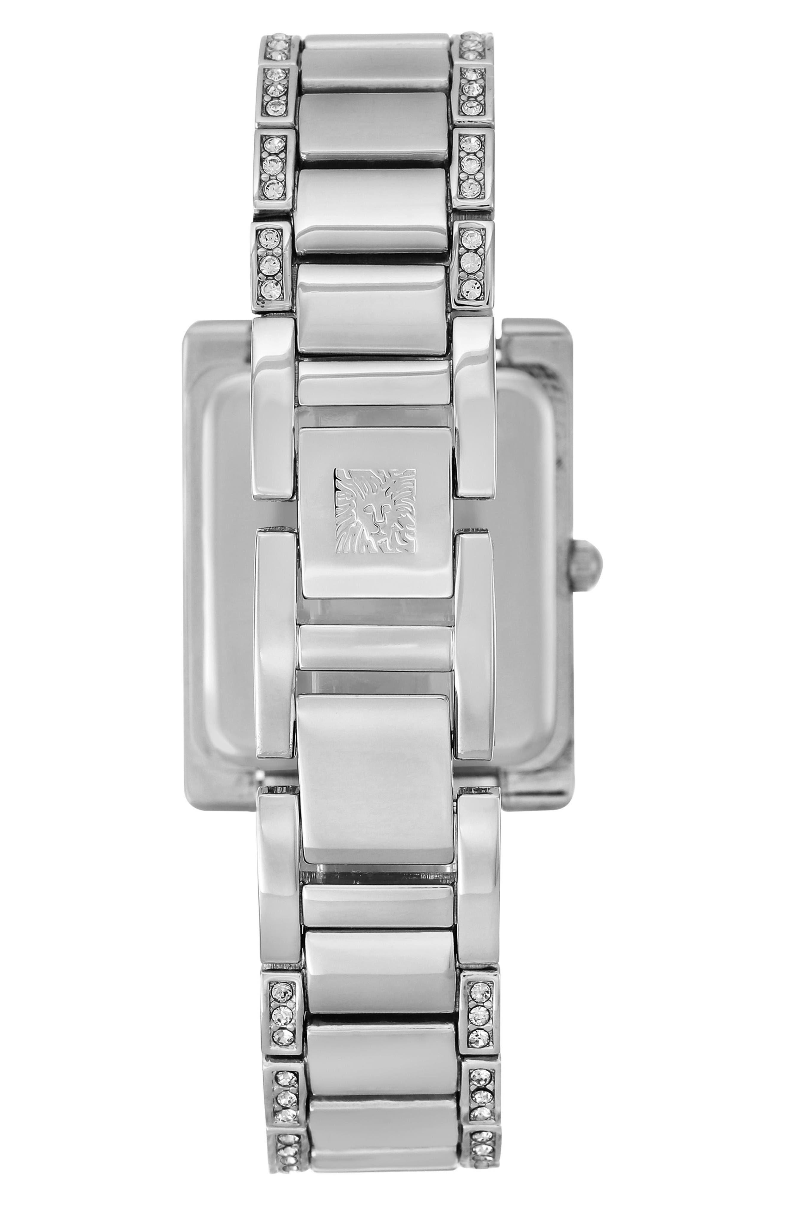 Alternate Image 2  - Anne Klein Crystal Bracelet Watch, 28mm x 35mm