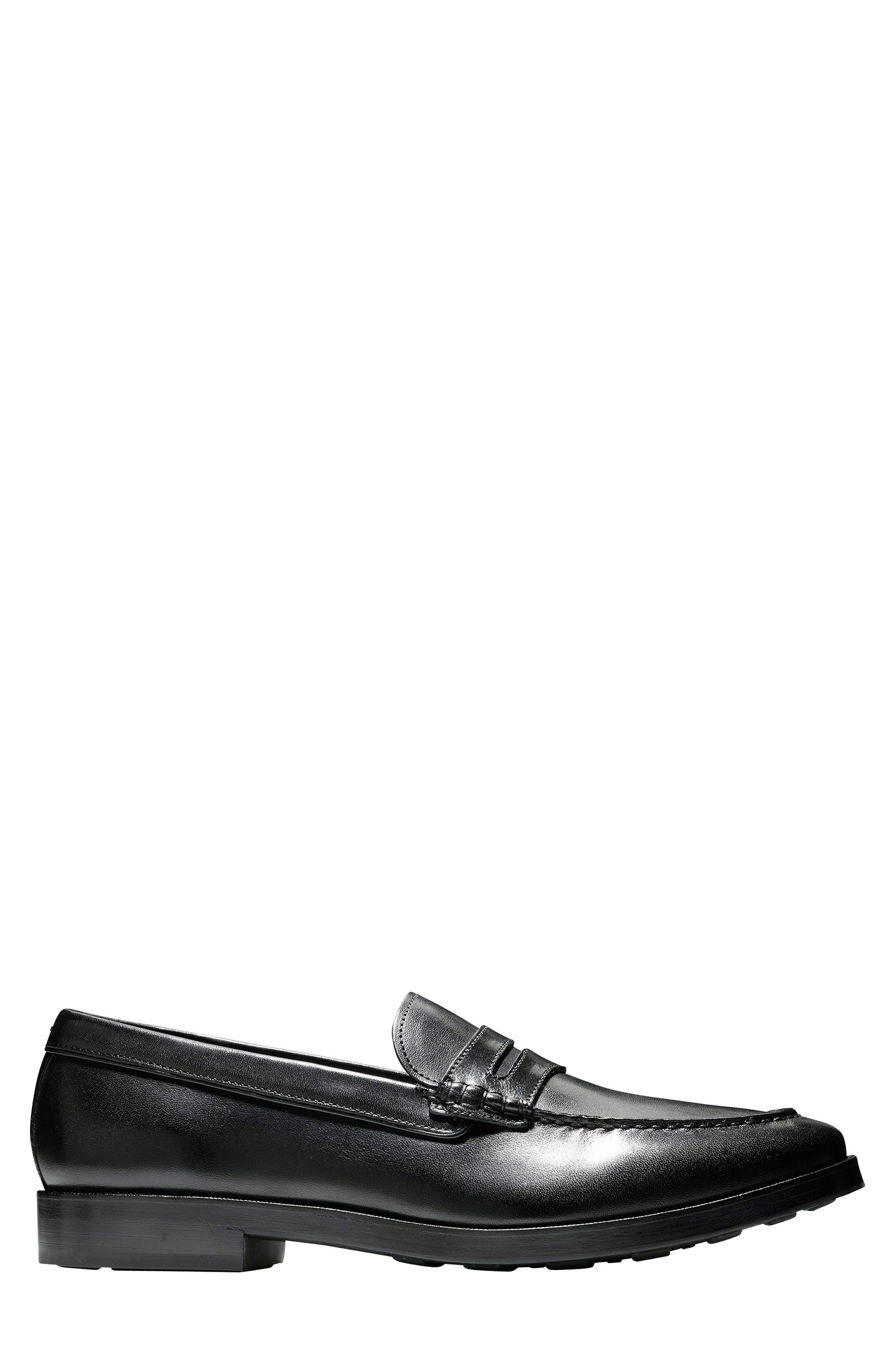 Hamilton Grand Penny Loafer,                             Alternate thumbnail 3, color,                             Black Leather