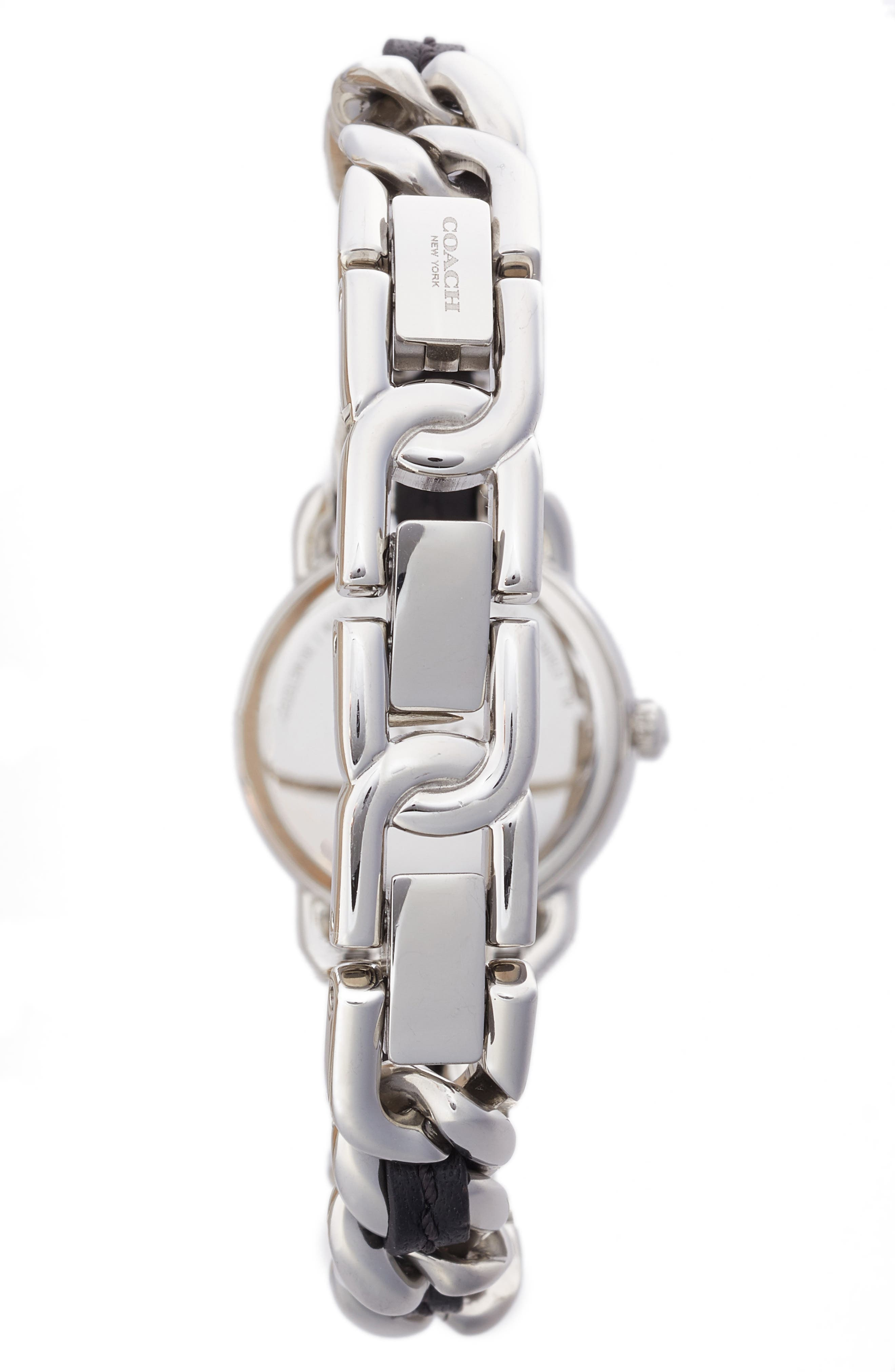 Alternate Image 2  - COACH Delancey Leather Chain Watch, 23mm