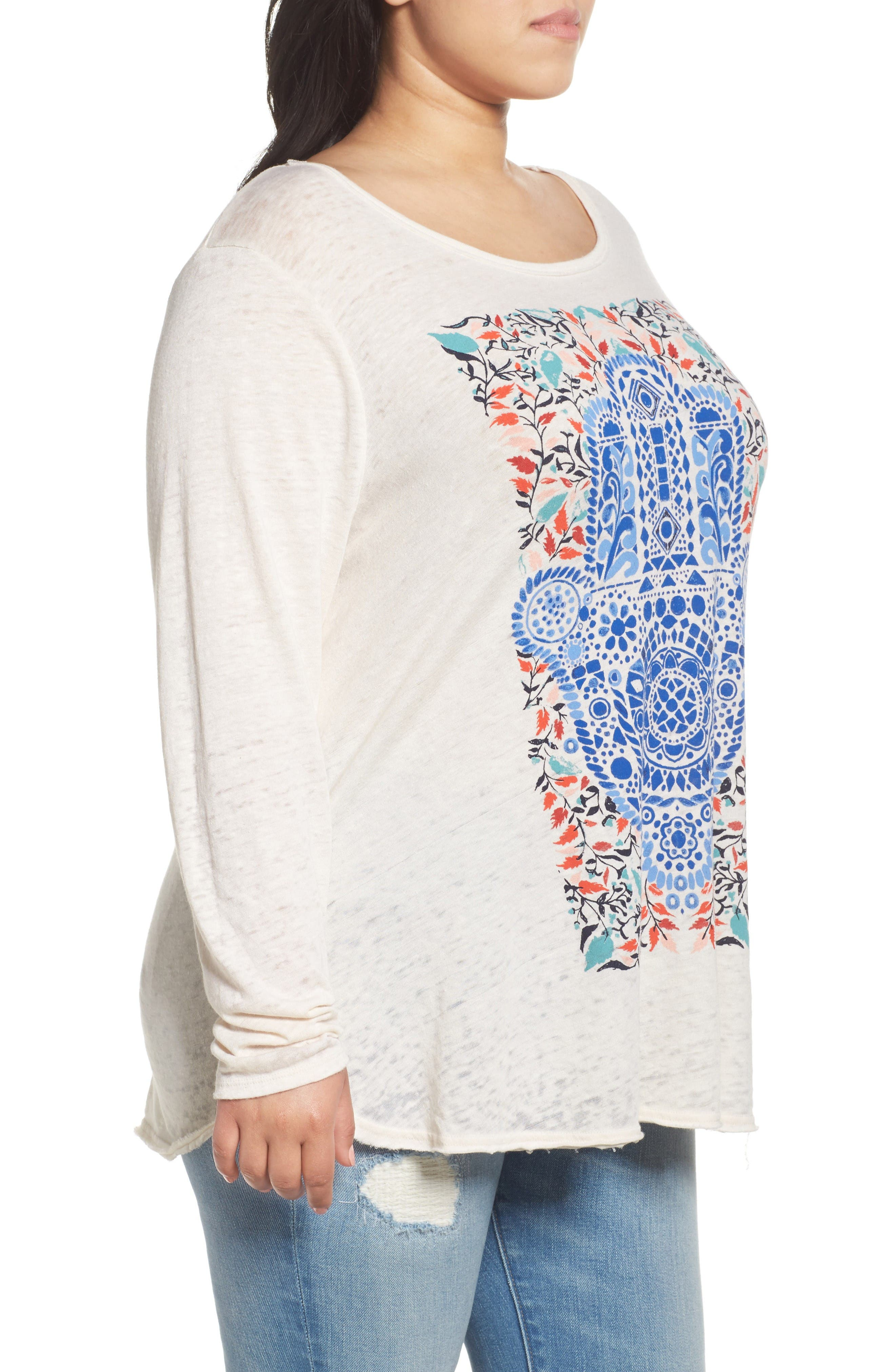 Alternate Image 3  - Lucky Brand Watercolor Hamsa Hand Tee (Plus Size)