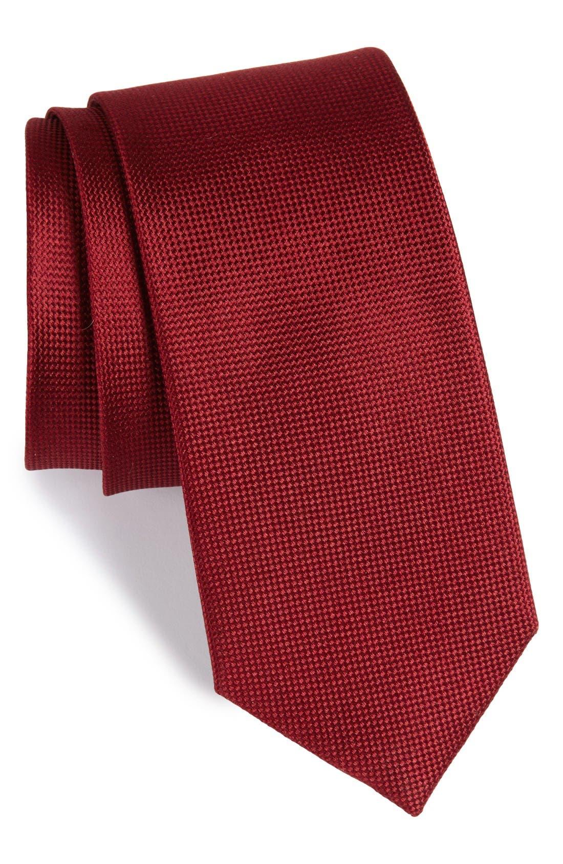 Solid Silk Tie,                         Main,                         color, Burgundy