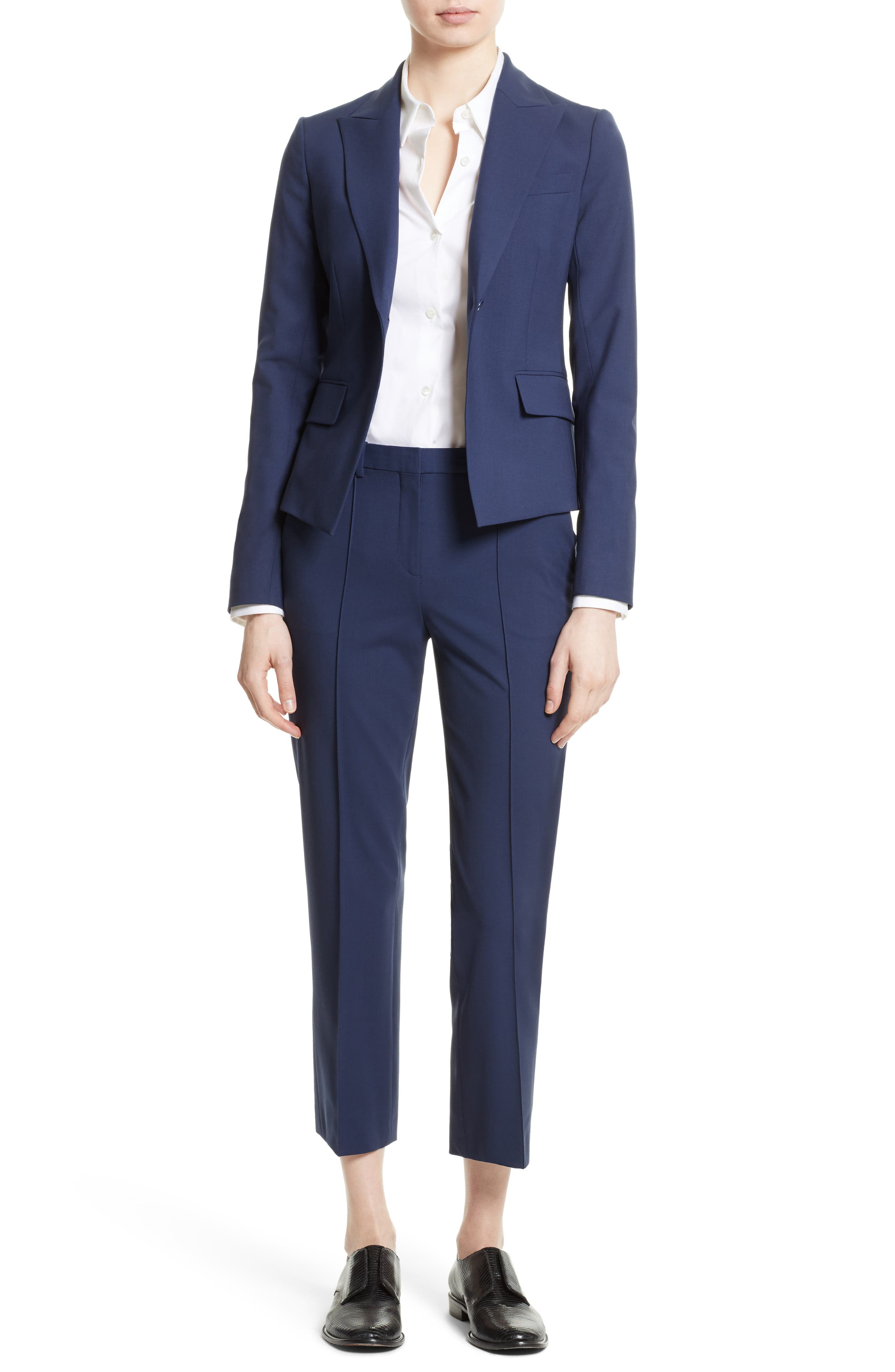 Theory Jacket & Crop Pants Outfit with Accessories