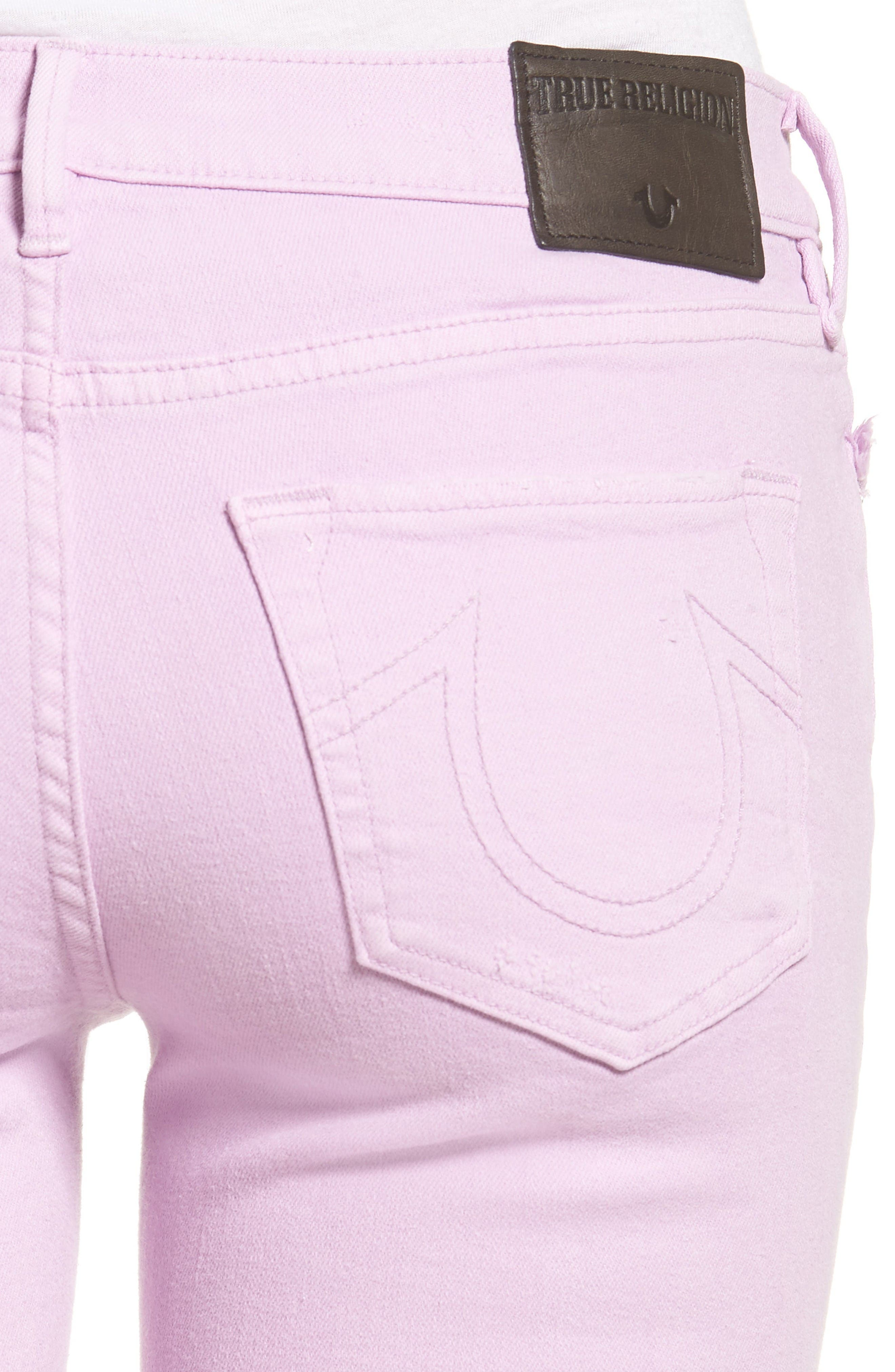 Alternate Image 4  - True Religion Brand Jeans Casey Crop Fray Jeans (Wisteria)