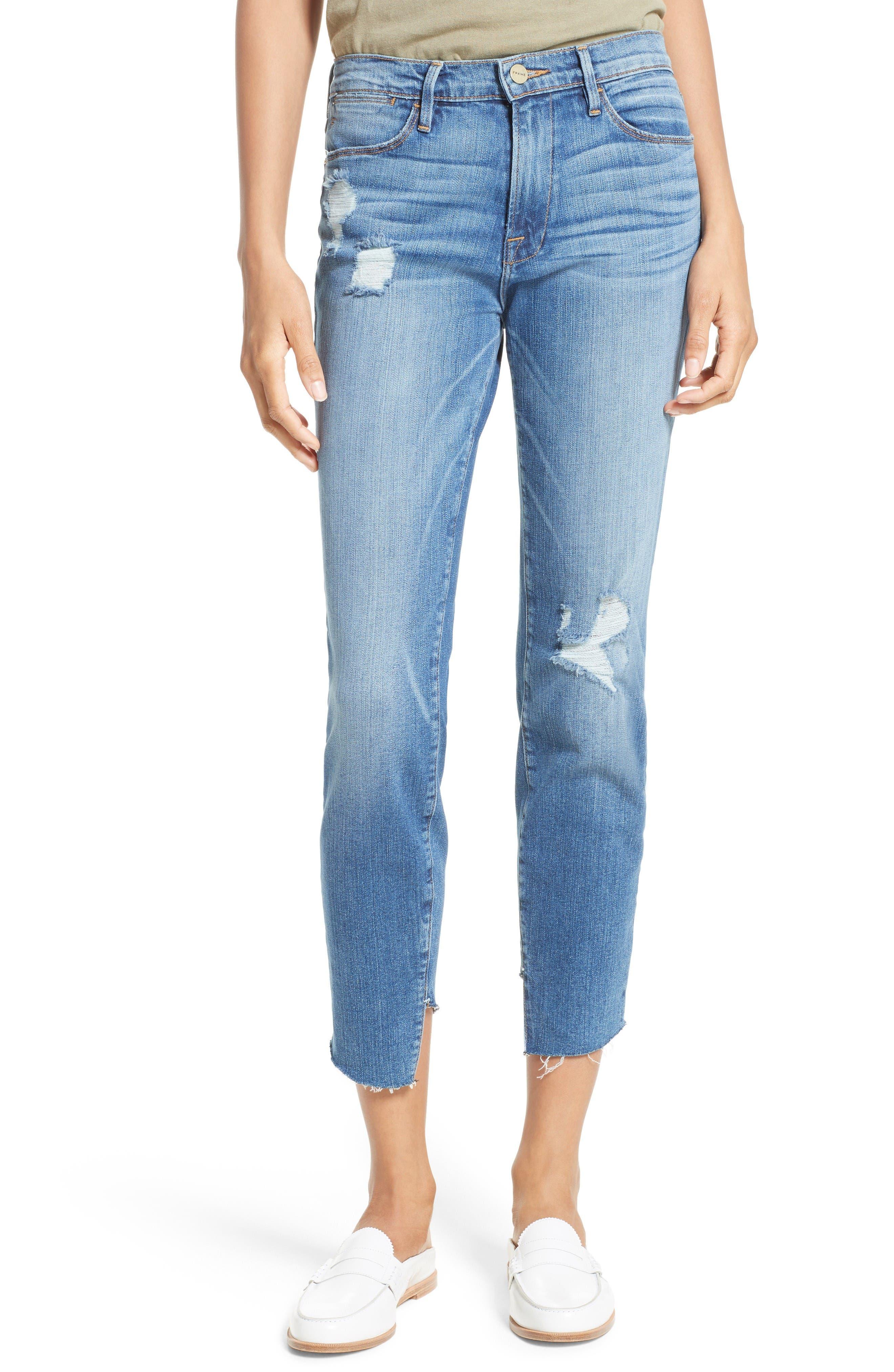 Alternate Image 1 Selected - FRAME Le High Skinny Cascade Hem Jeans (Arenas) (Nordstrom Exclusive)
