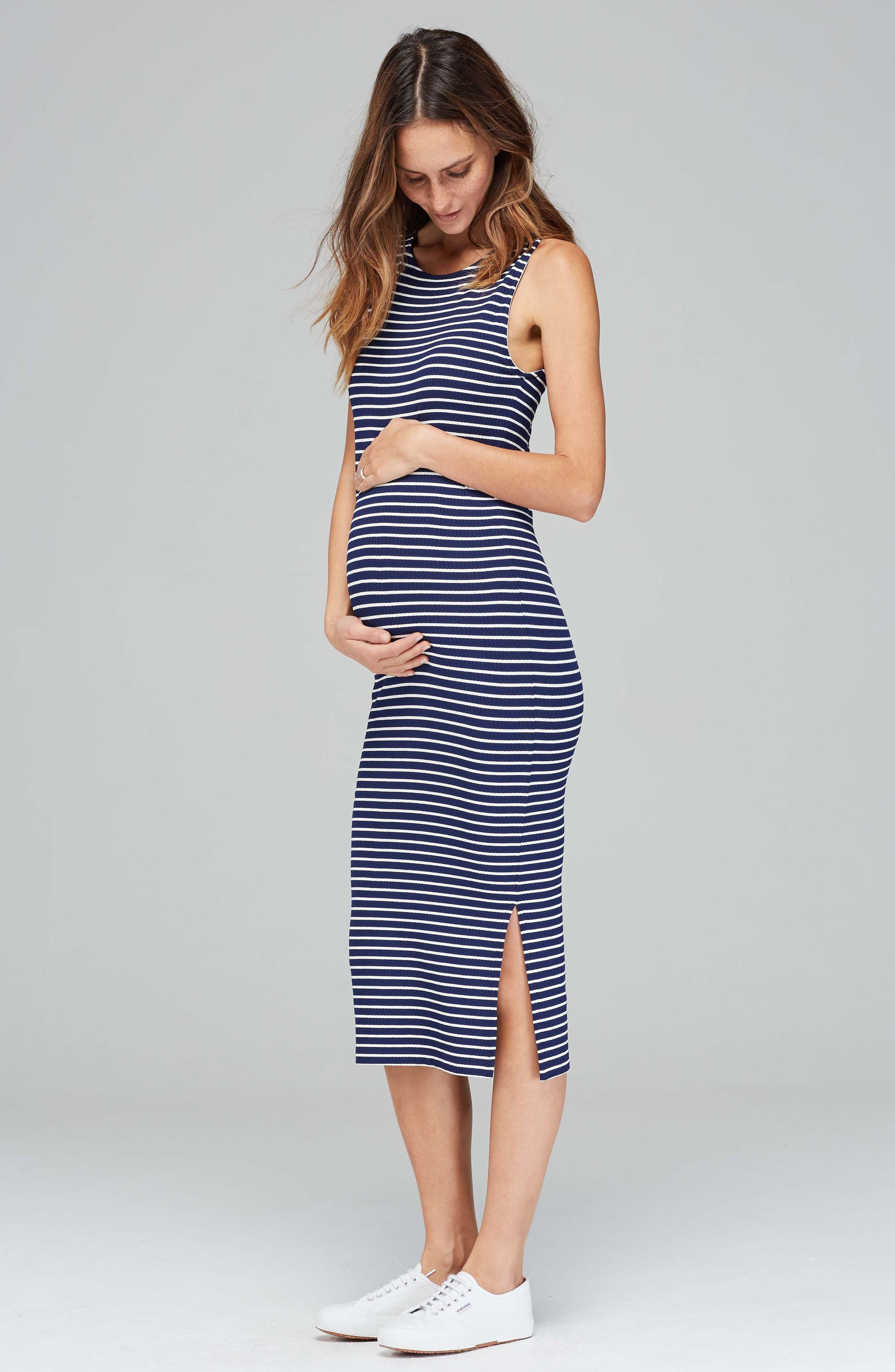 Katerina Ribbed Maternity Tank Dress,                             Alternate thumbnail 2, color,                             Navy/ White Rib