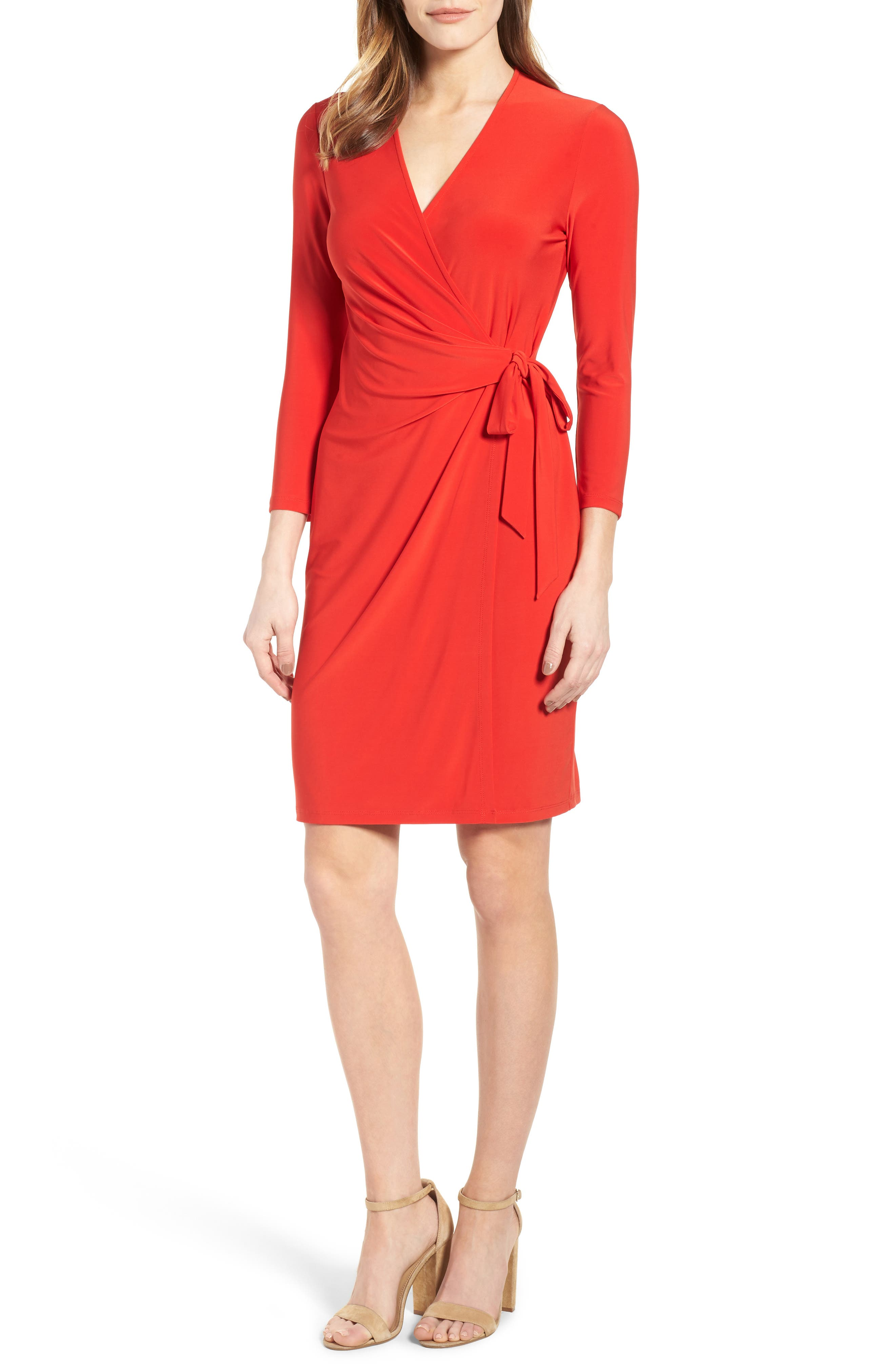 Stretch Jersey Faux Wrap Dress,                         Main,                         color, Tomato
