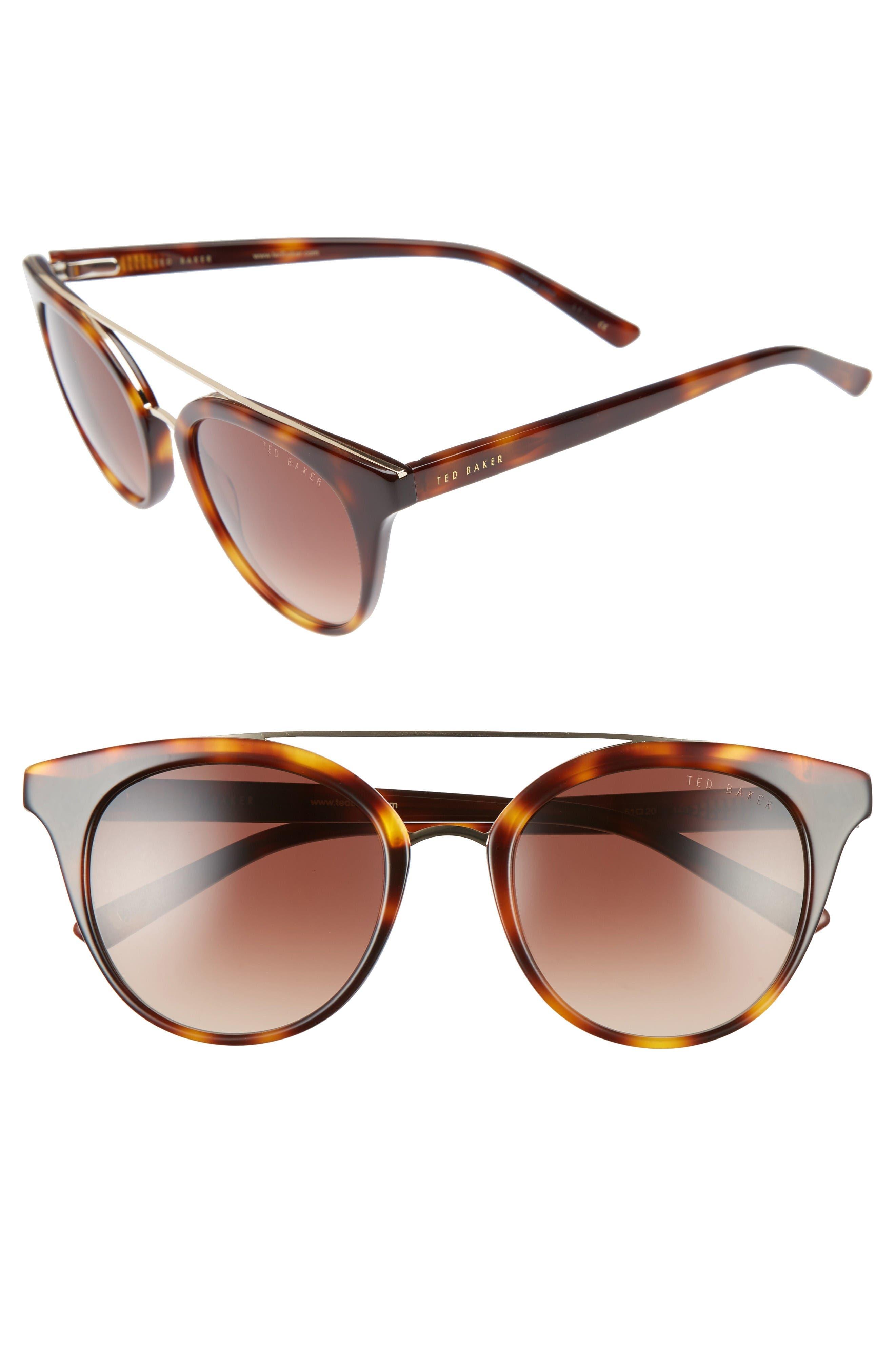 51mm Gradient Lens Round Retro Sunglasses,                         Main,                         color, Tortoise