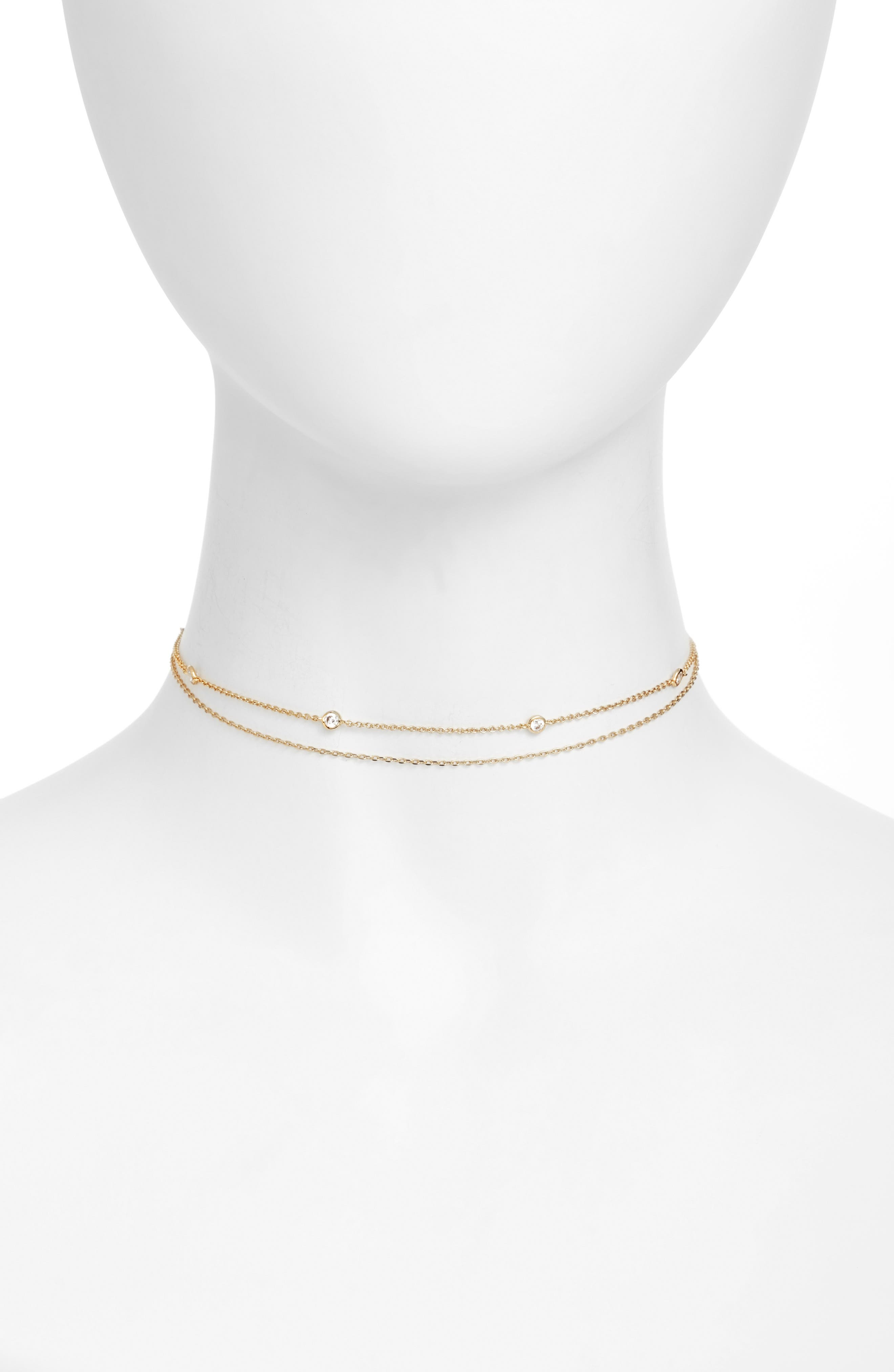 Crimson Chain Choker,                         Main,                         color, Gold/ Clear