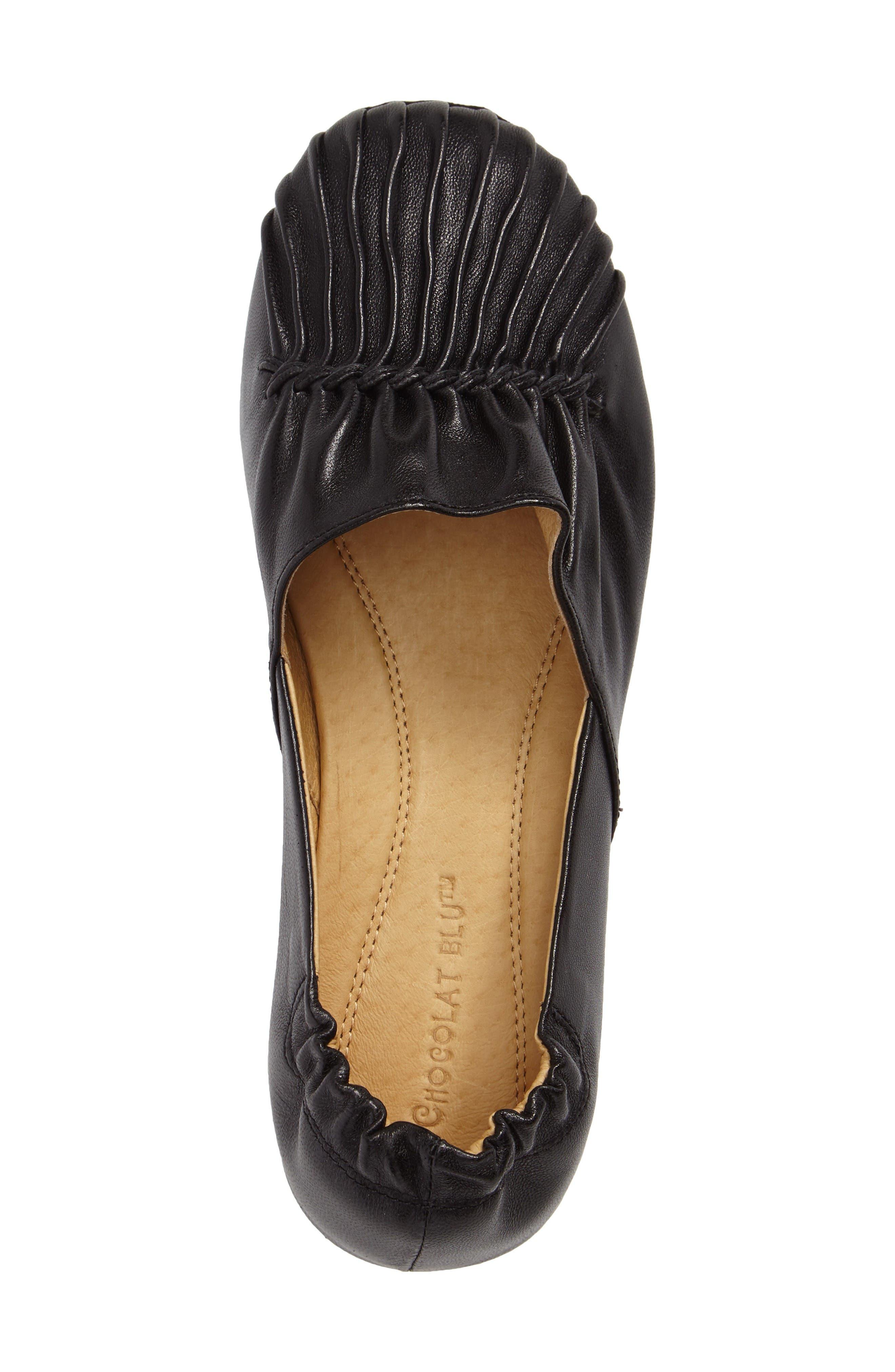 Seamed Flat,                             Alternate thumbnail 5, color,                             Black Leather