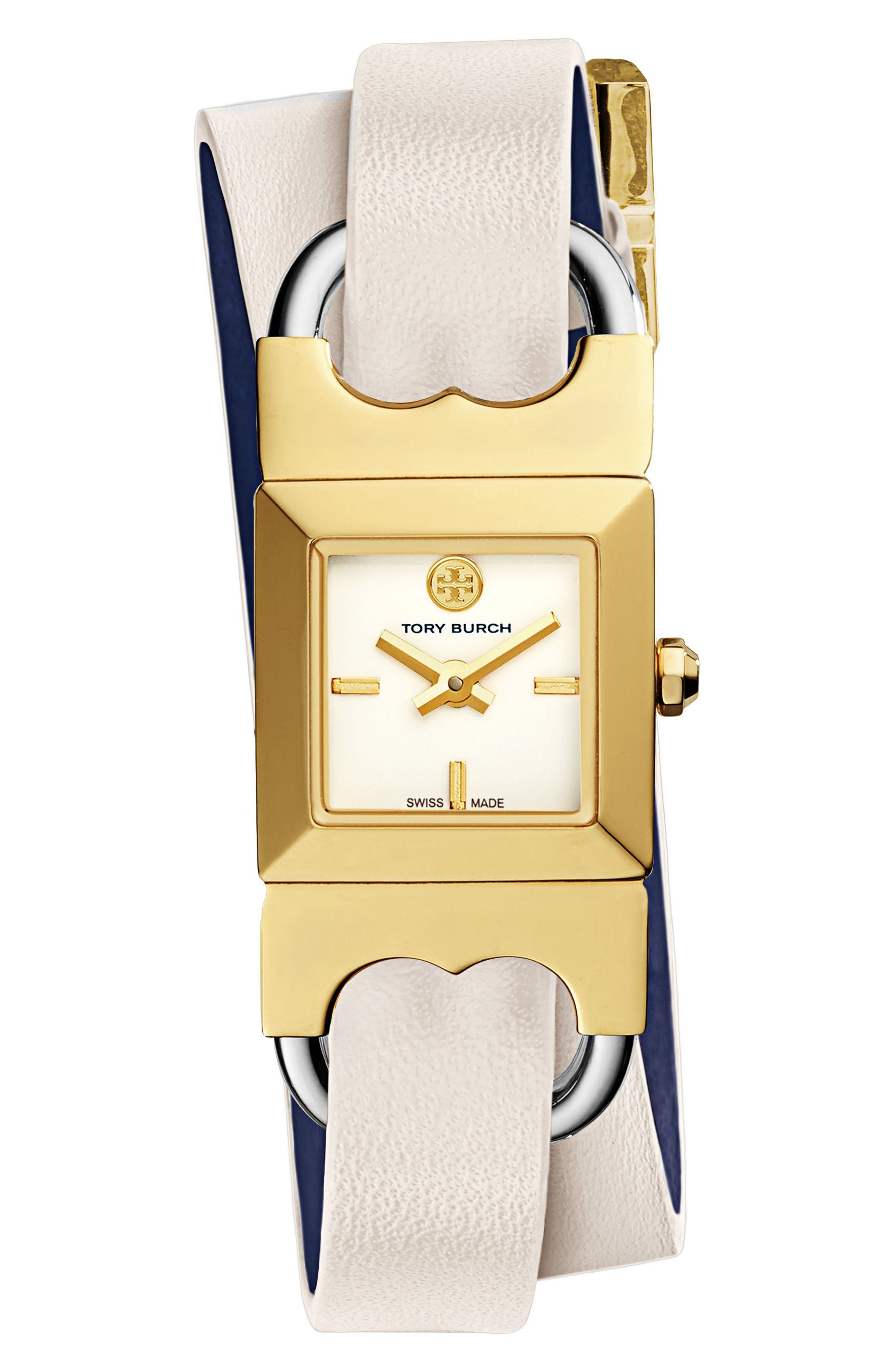 Alternate Image 1 Selected - Tory Burch Double T Link Reversible Wrap Leather Strap Watch, 19mm x 23mm