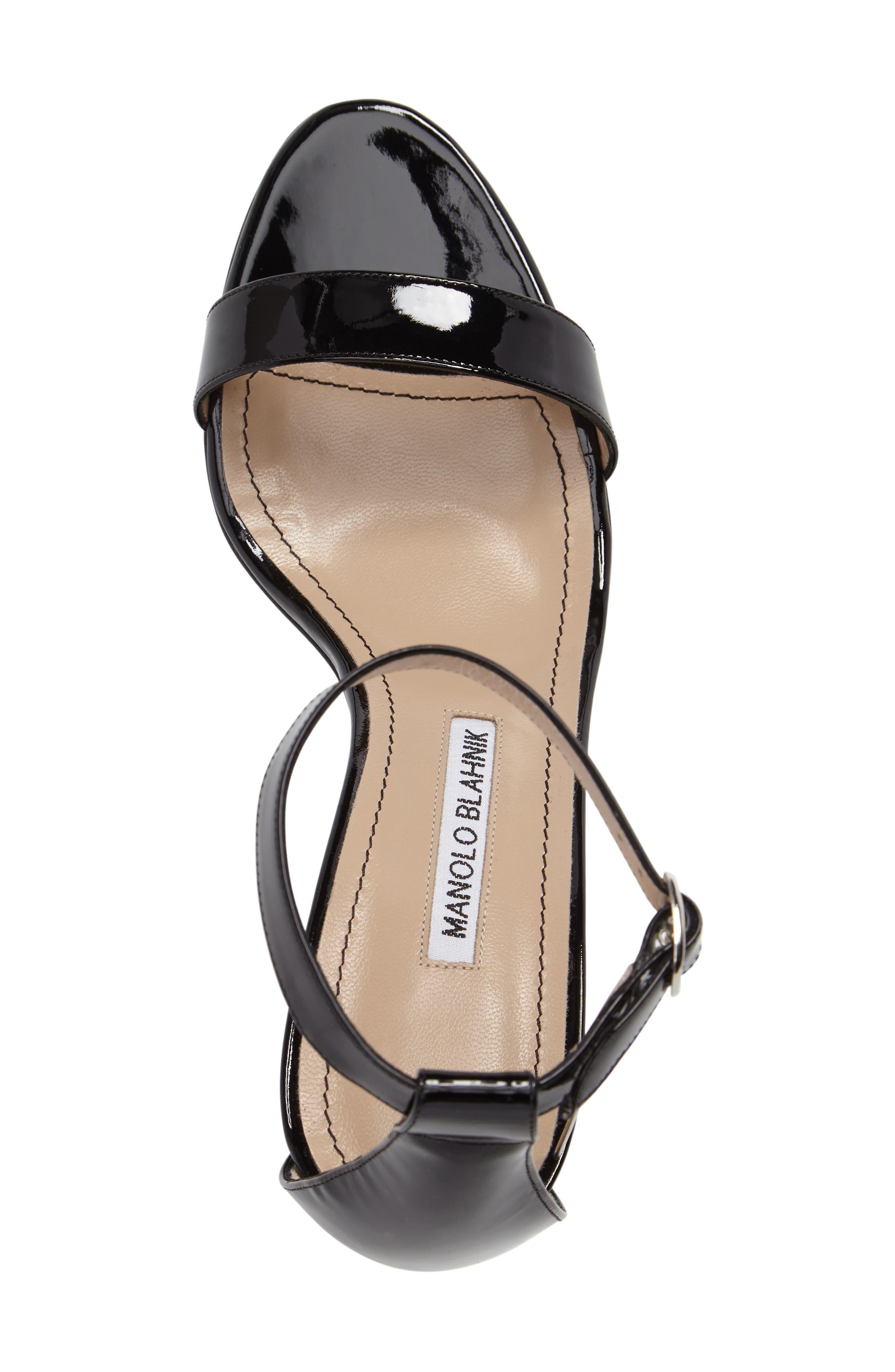 'Chaos' Ankle Strap Sandal,                             Alternate thumbnail 5, color,                             Black Patent