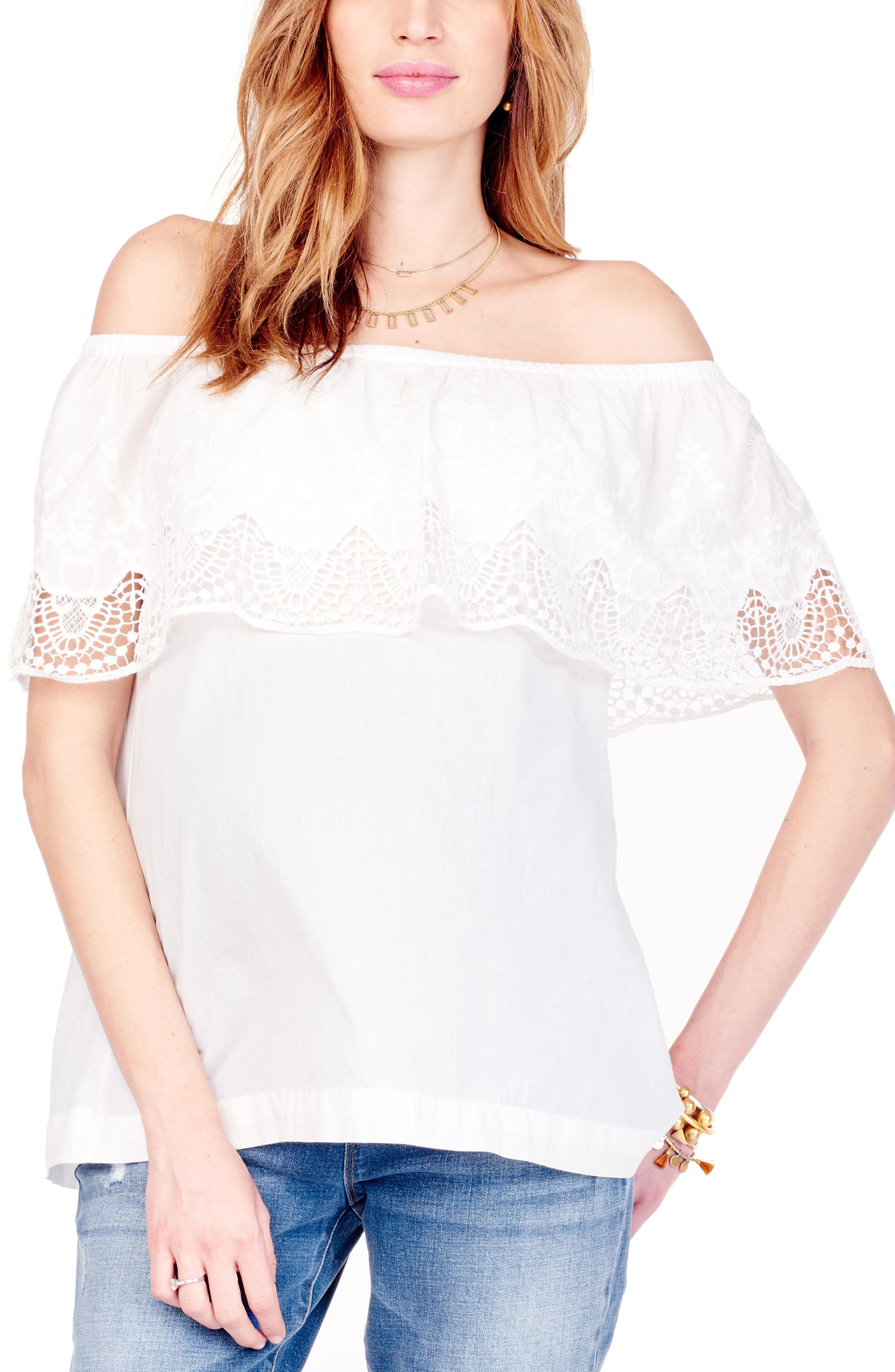 Lace Off the Shoulder Maternity Top,                         Main,                         color, Ivory