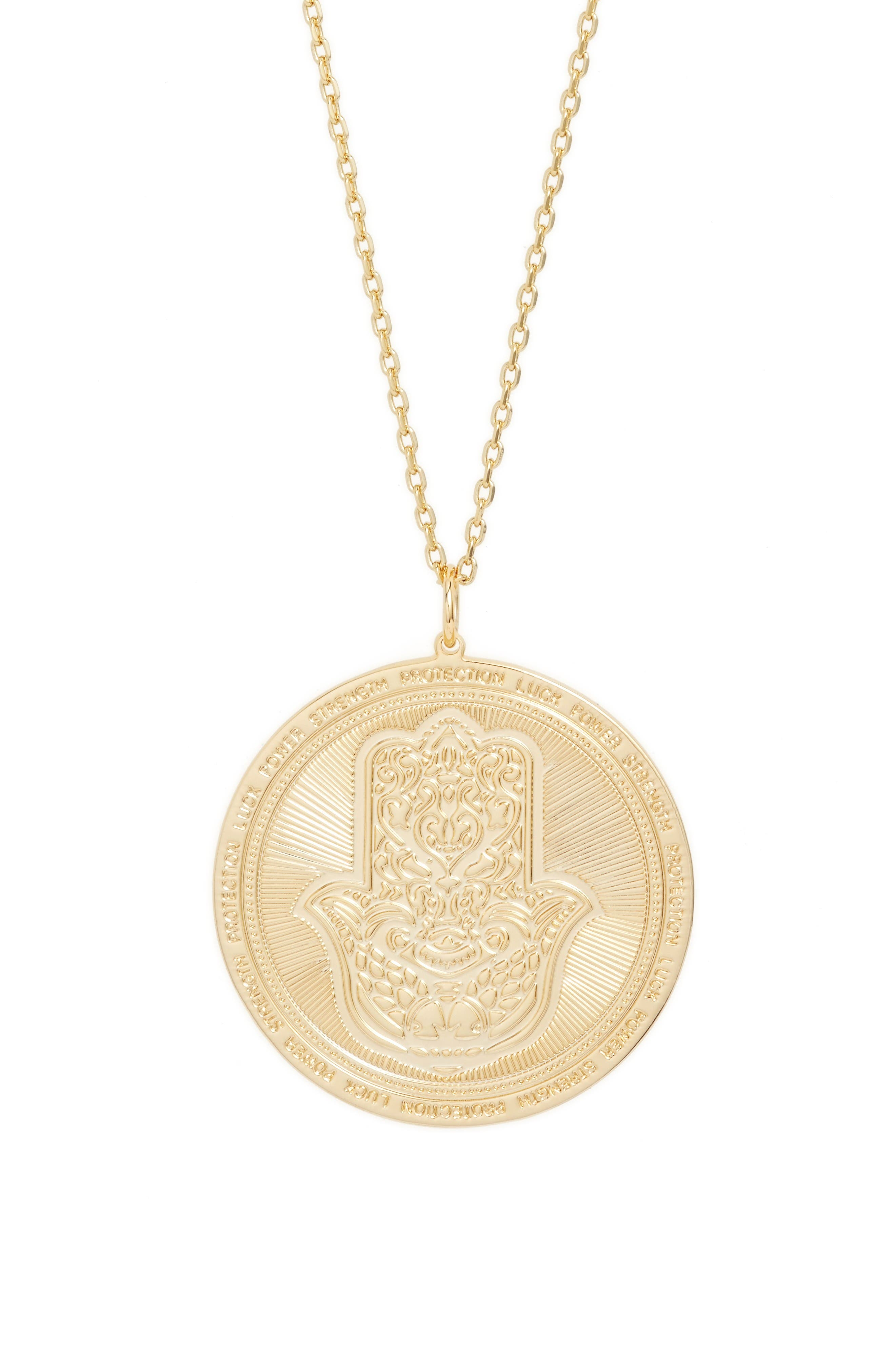 Hamsa Love Letters Pendant Necklace,                         Main,                         color, Hamsa/ Gold