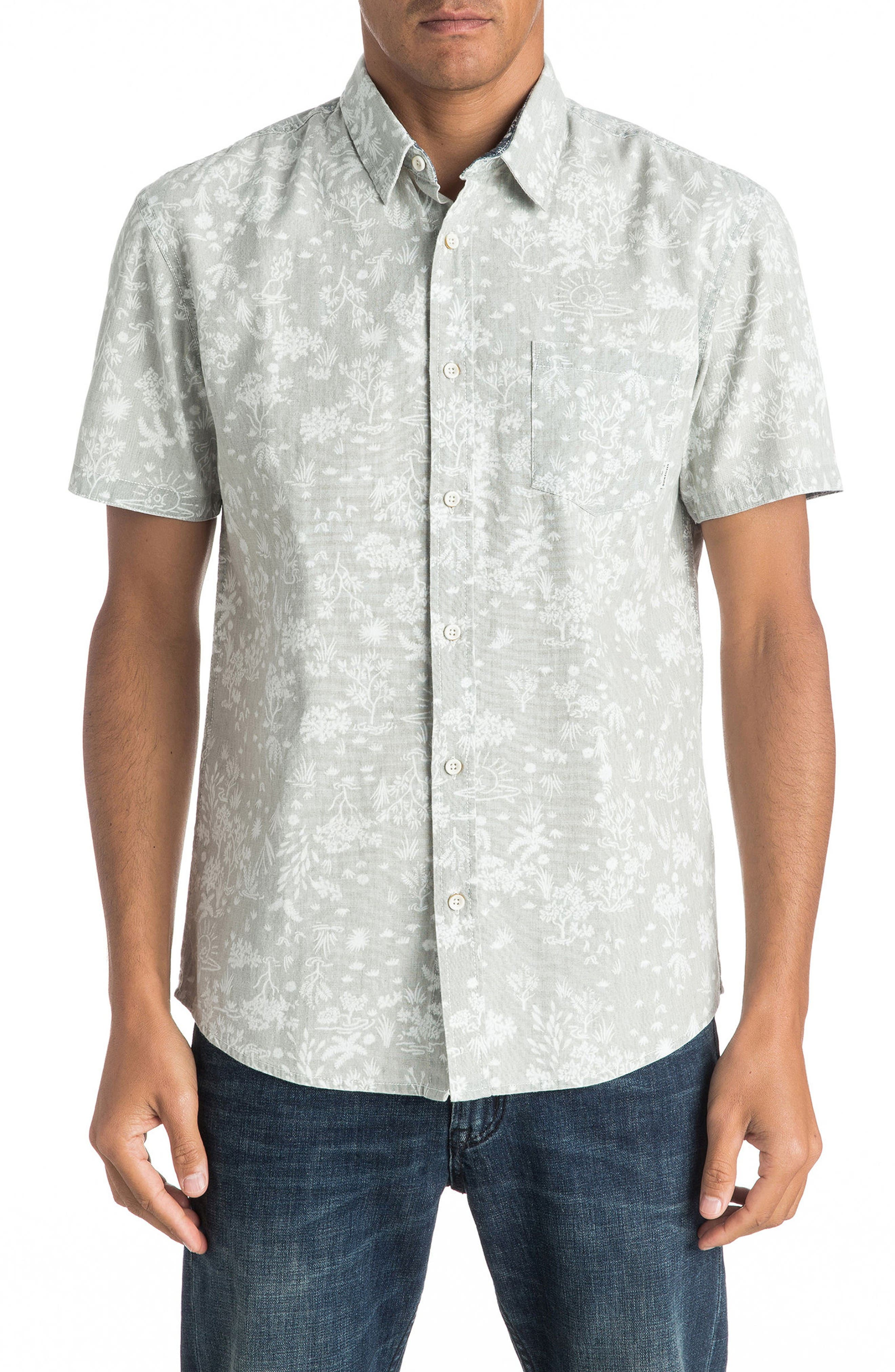 Bloom Field Diver Woven Shirt,                         Main,                         color, Tarmac Pyramid