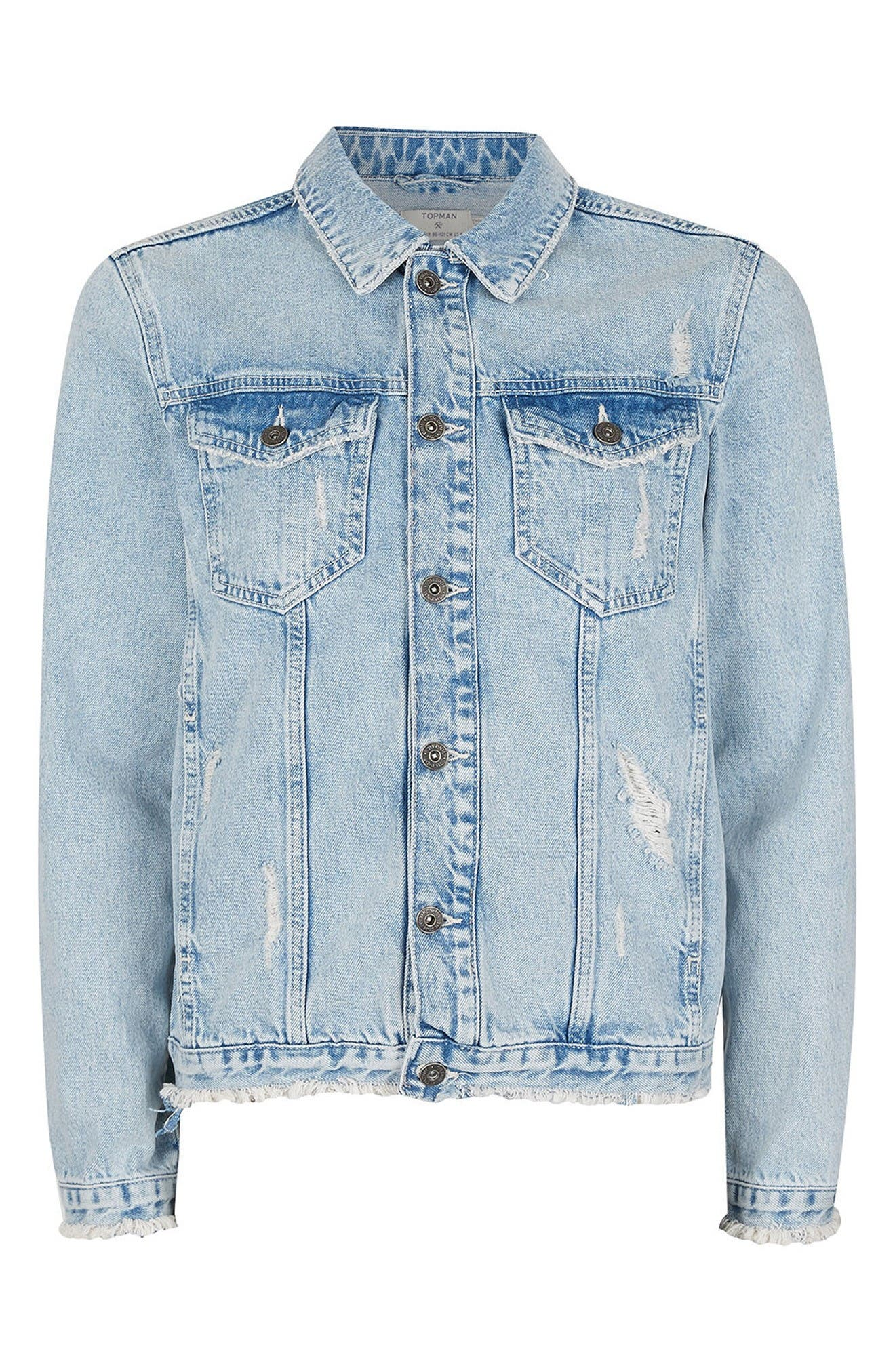 Distressed Denim Jacket,                             Alternate thumbnail 5, color,                             Blue