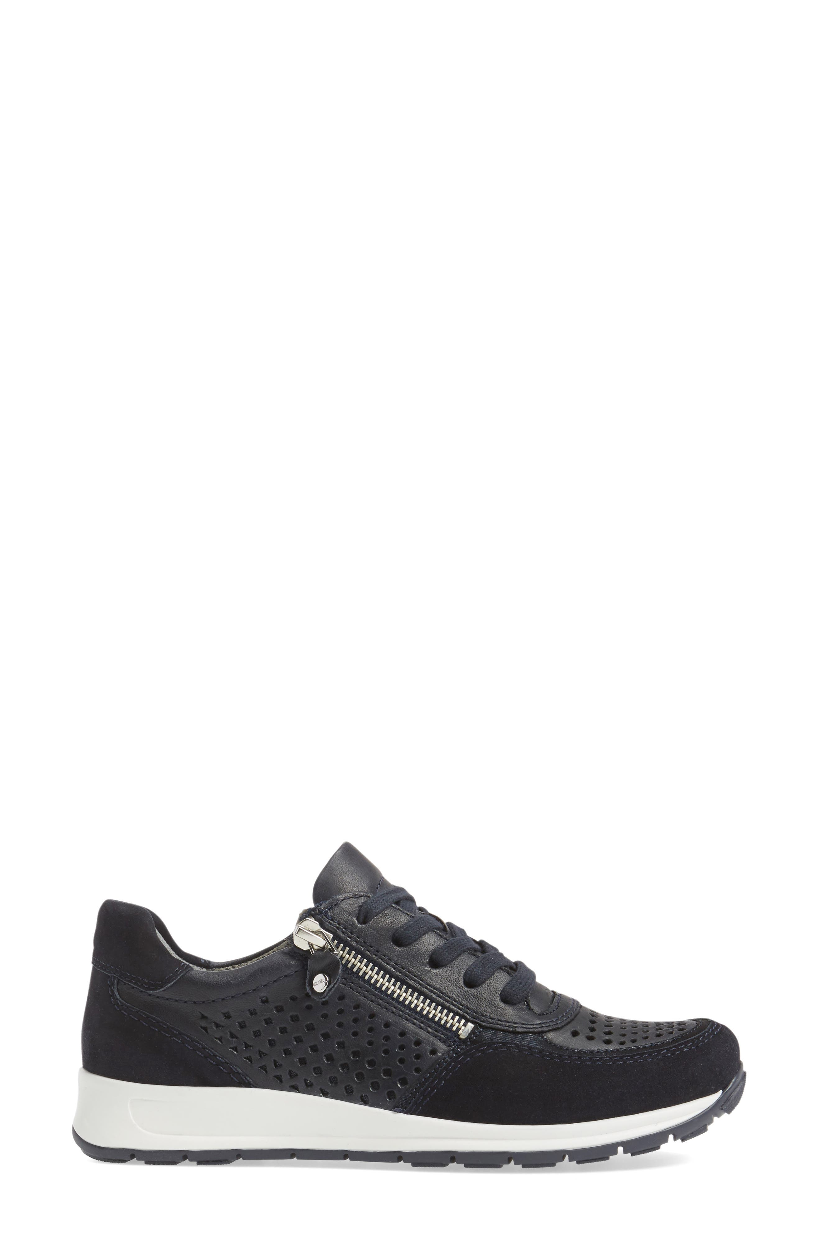 Olivia Perforated Sneaker,                             Alternate thumbnail 3, color,                             Navy Suede
