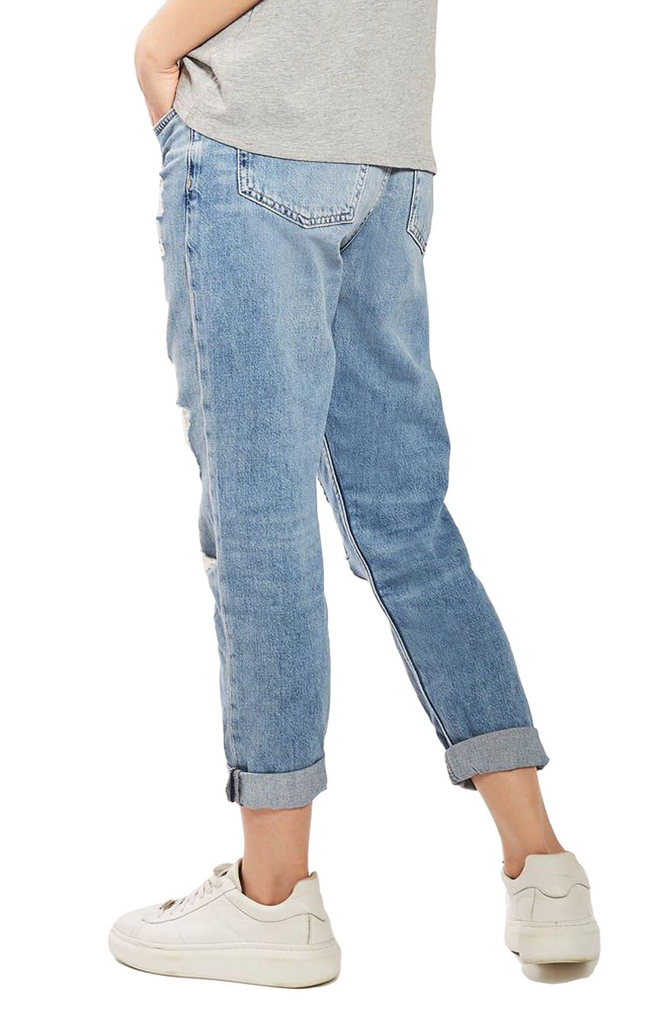 Hayden Super Ripped Boyfriend Jeans,                             Alternate thumbnail 3, color,                             Light Denim