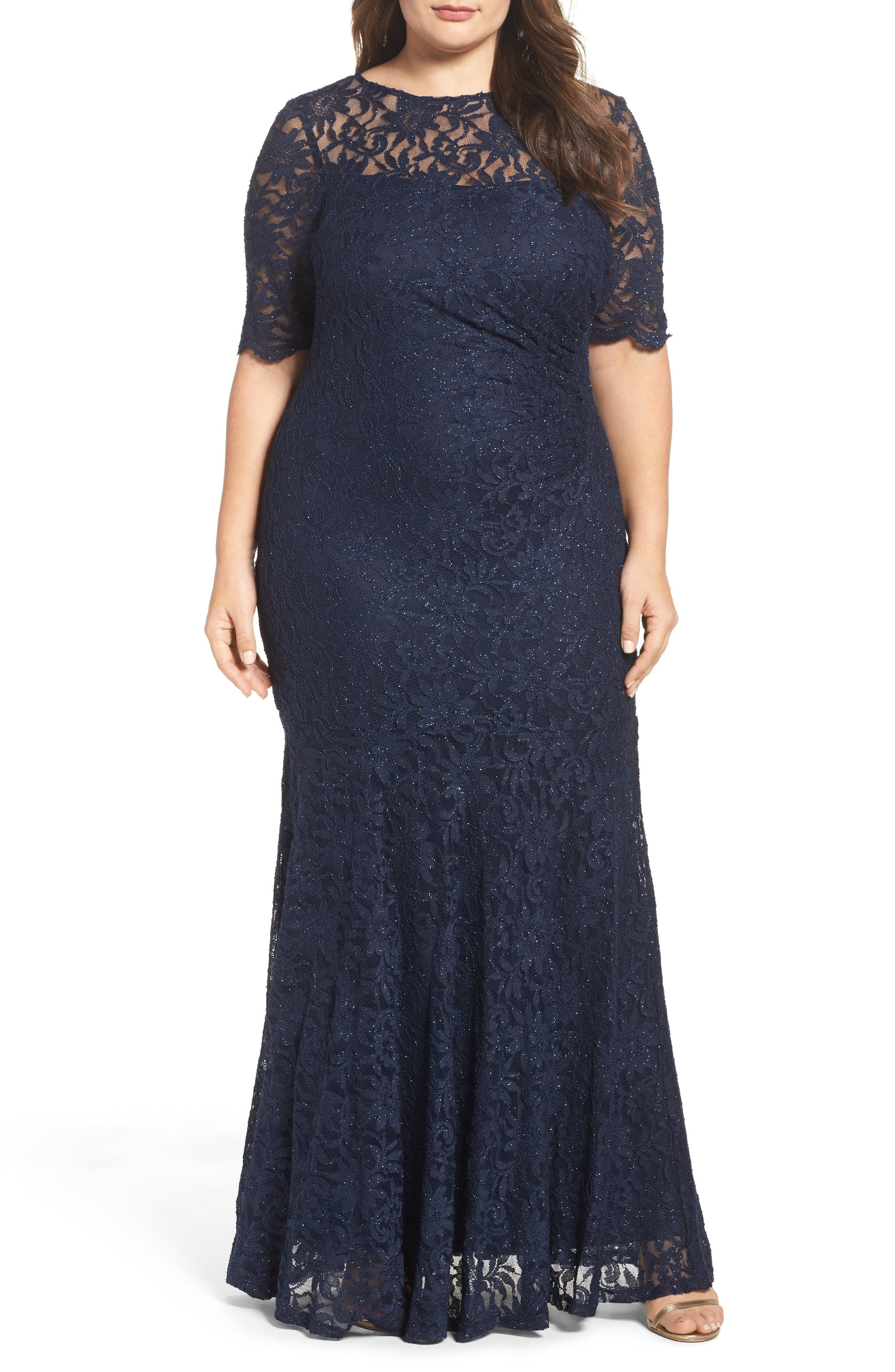 A-Line Stretch Lace Gown,                             Main thumbnail 1, color,                             Navy