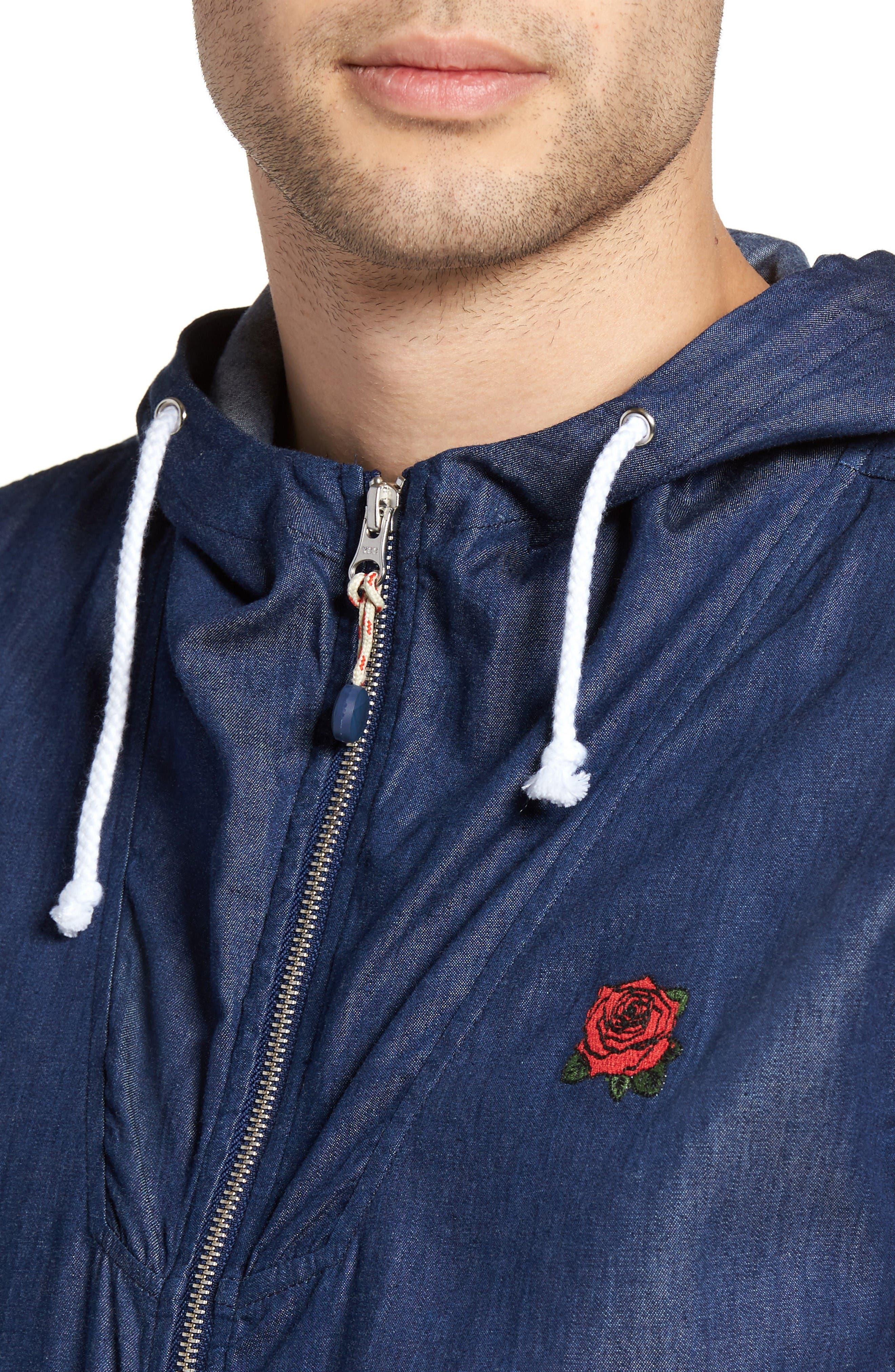 Flower District Hooded Zip Denim Jacket,                             Alternate thumbnail 4, color,                             Indigo