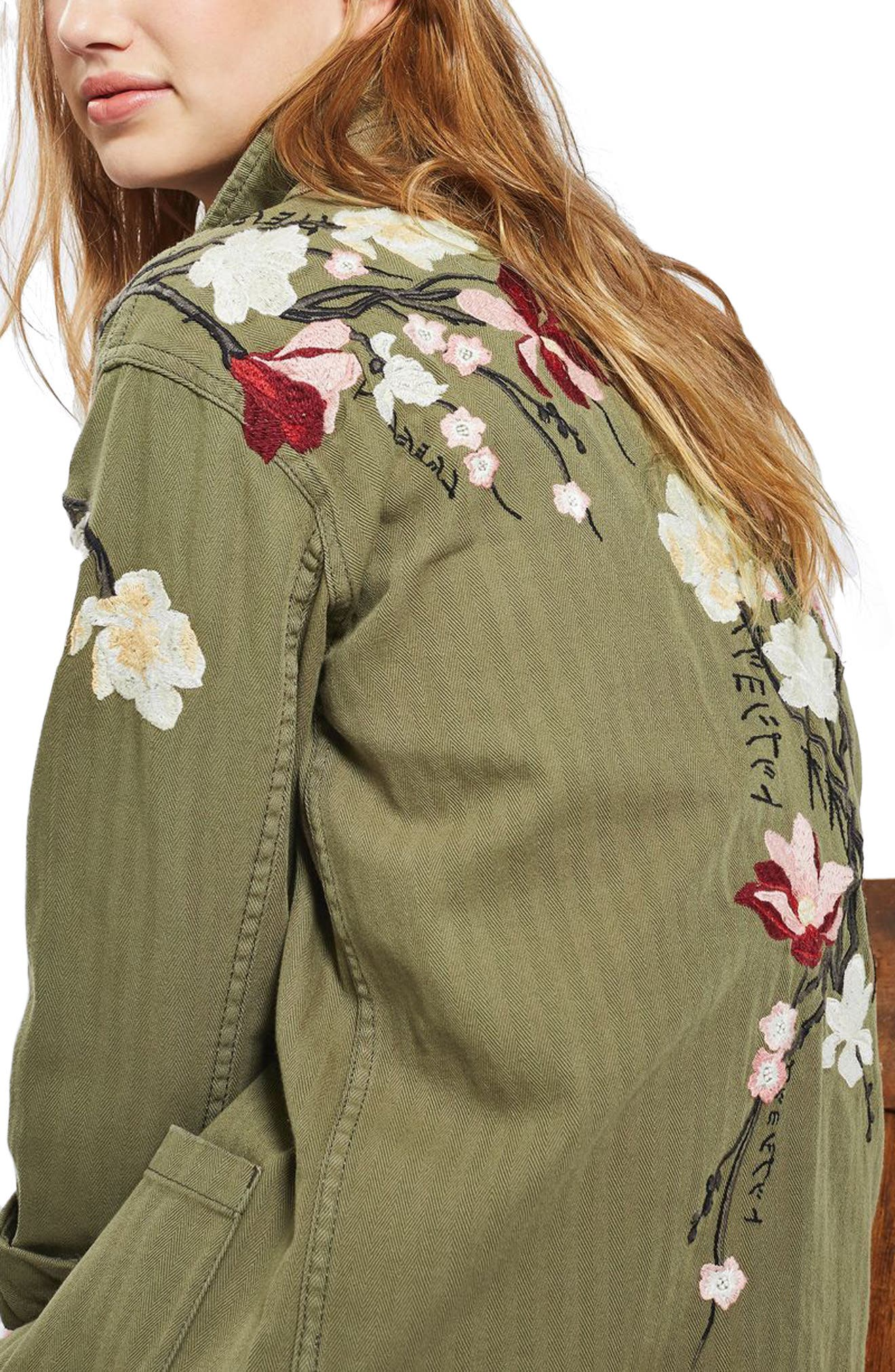 Embroidered Army Shirt Jacket,                             Alternate thumbnail 3, color,                             Olive