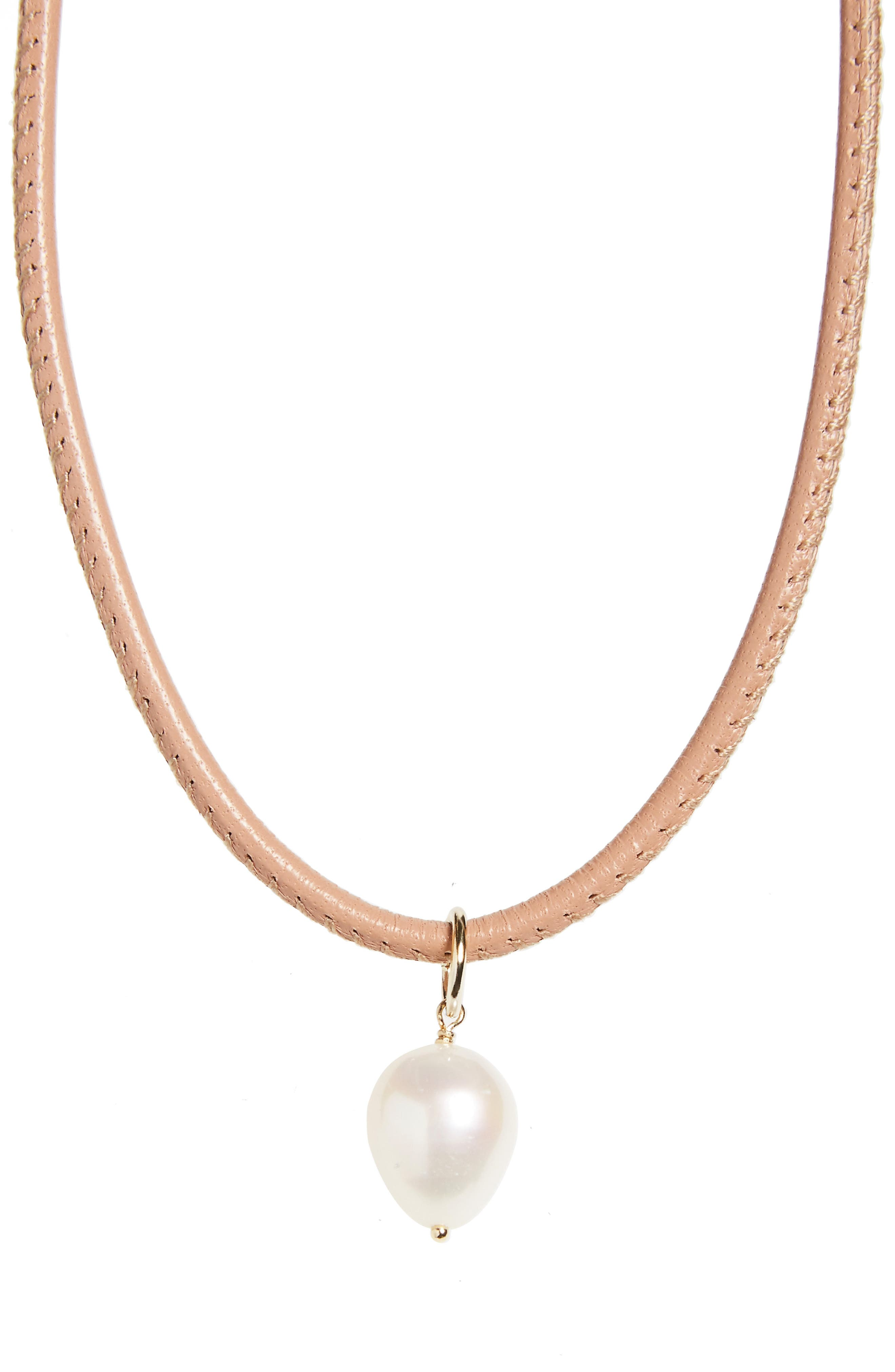 Leather & Pearl Choker,                             Alternate thumbnail 2, color,                             Neutral Leather/ White Pearl