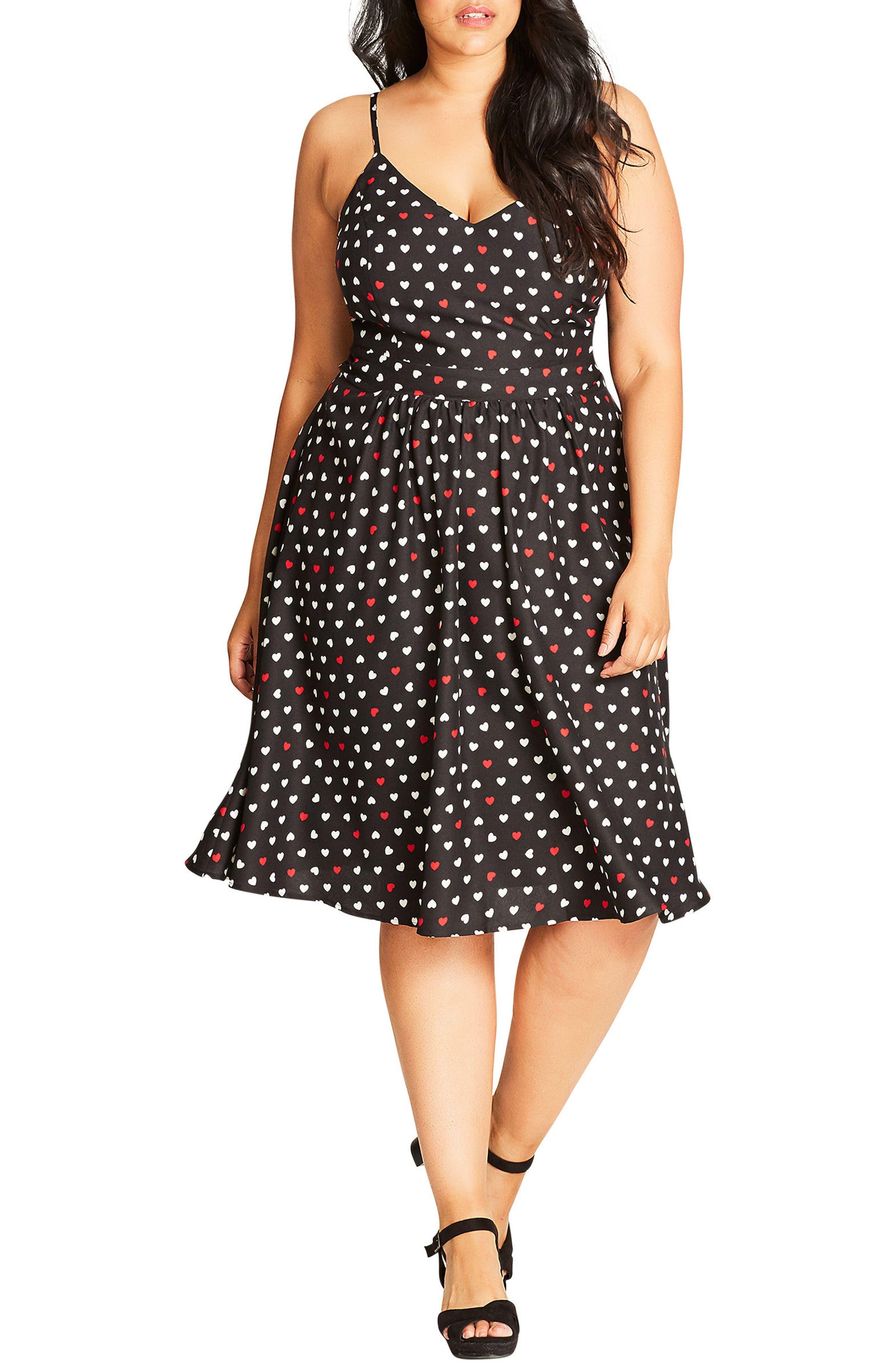 Cute Girl Fit & Flare Dress,                         Main,                         color, Black/ Black