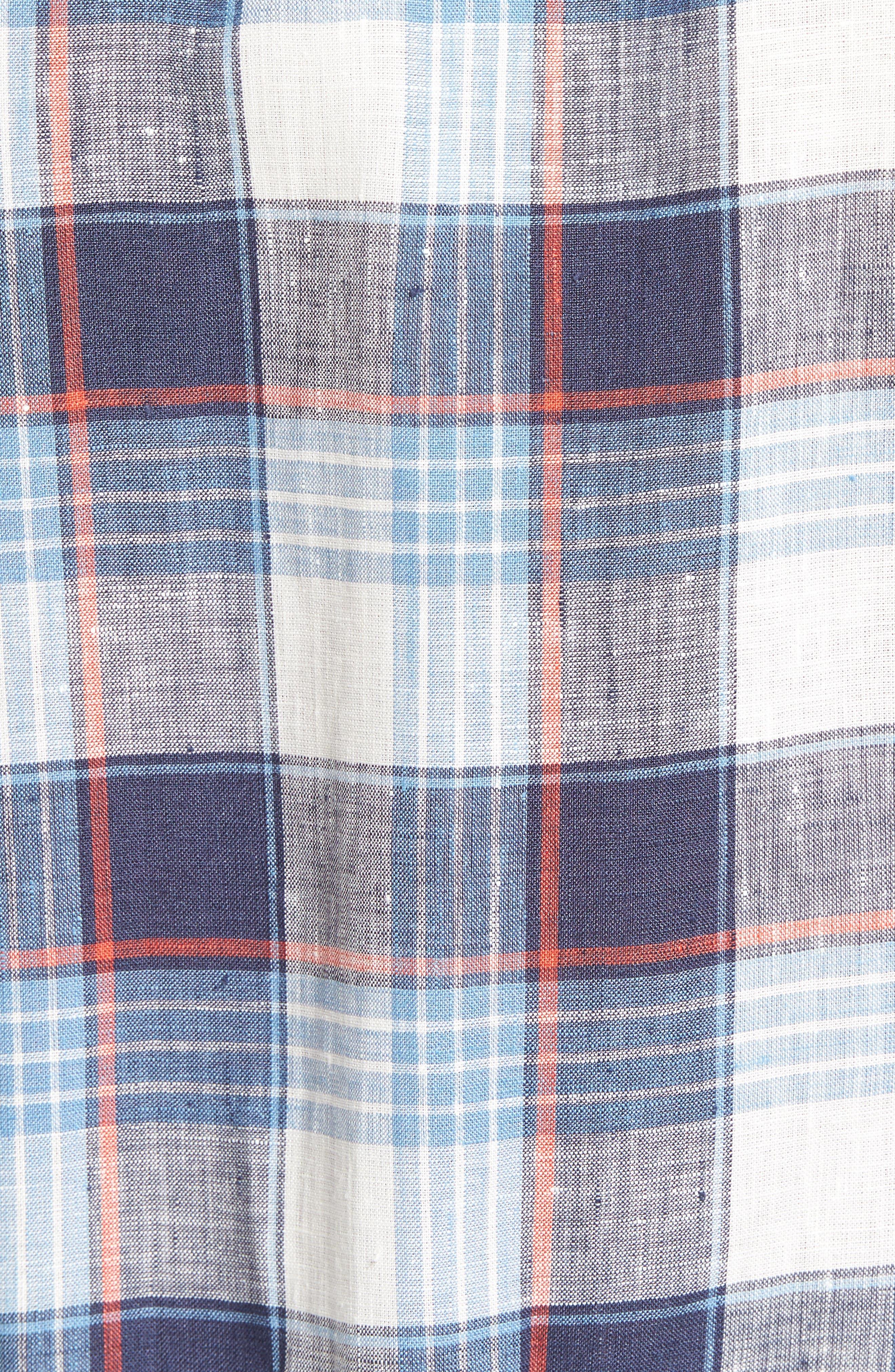 Trim Fit Plaid Linen Sport Shirt,                             Alternate thumbnail 5, color,                             Cadet Blue