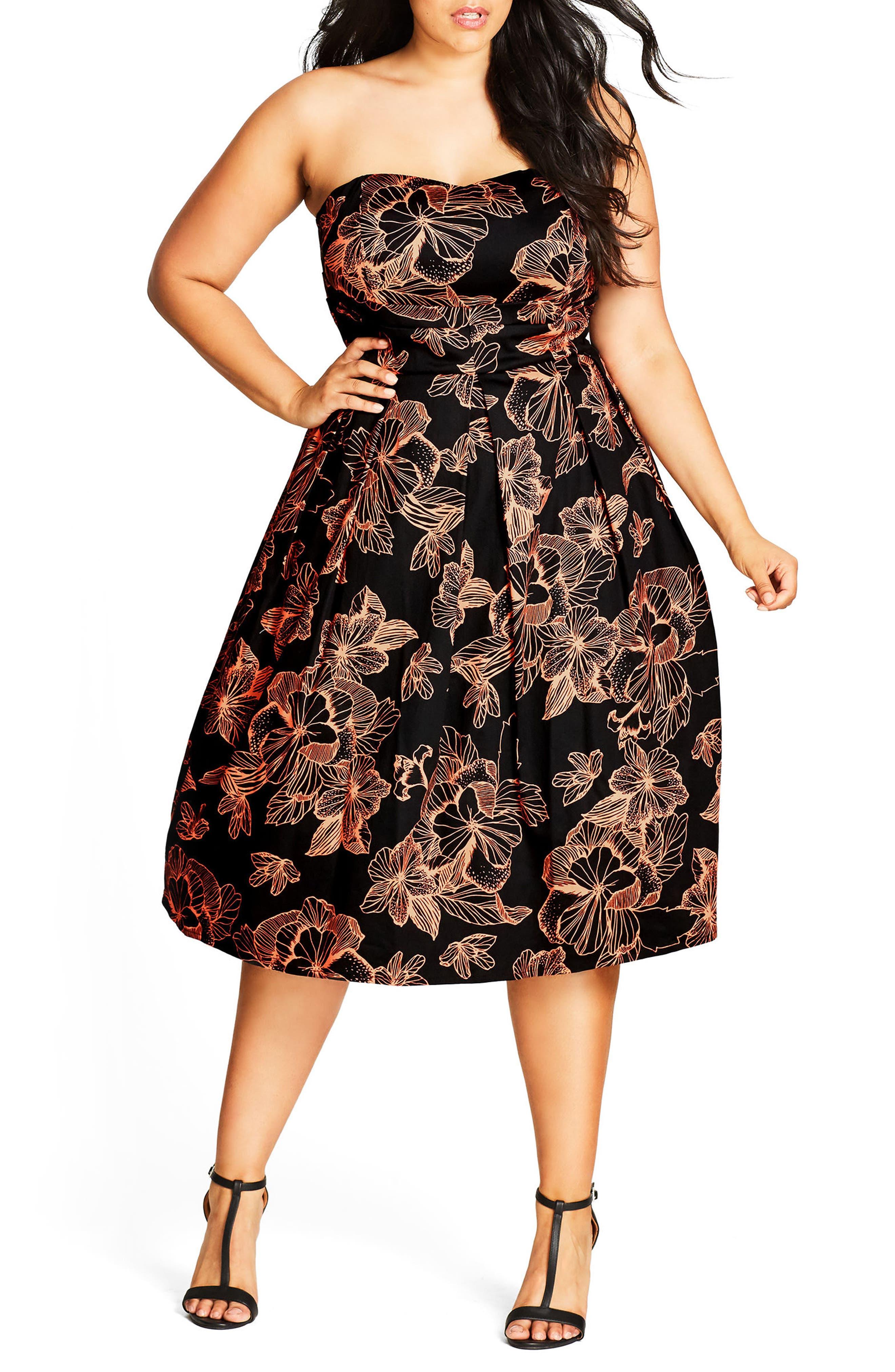 Floral Outline Fit & Flare Dress,                         Main,                         color, Black