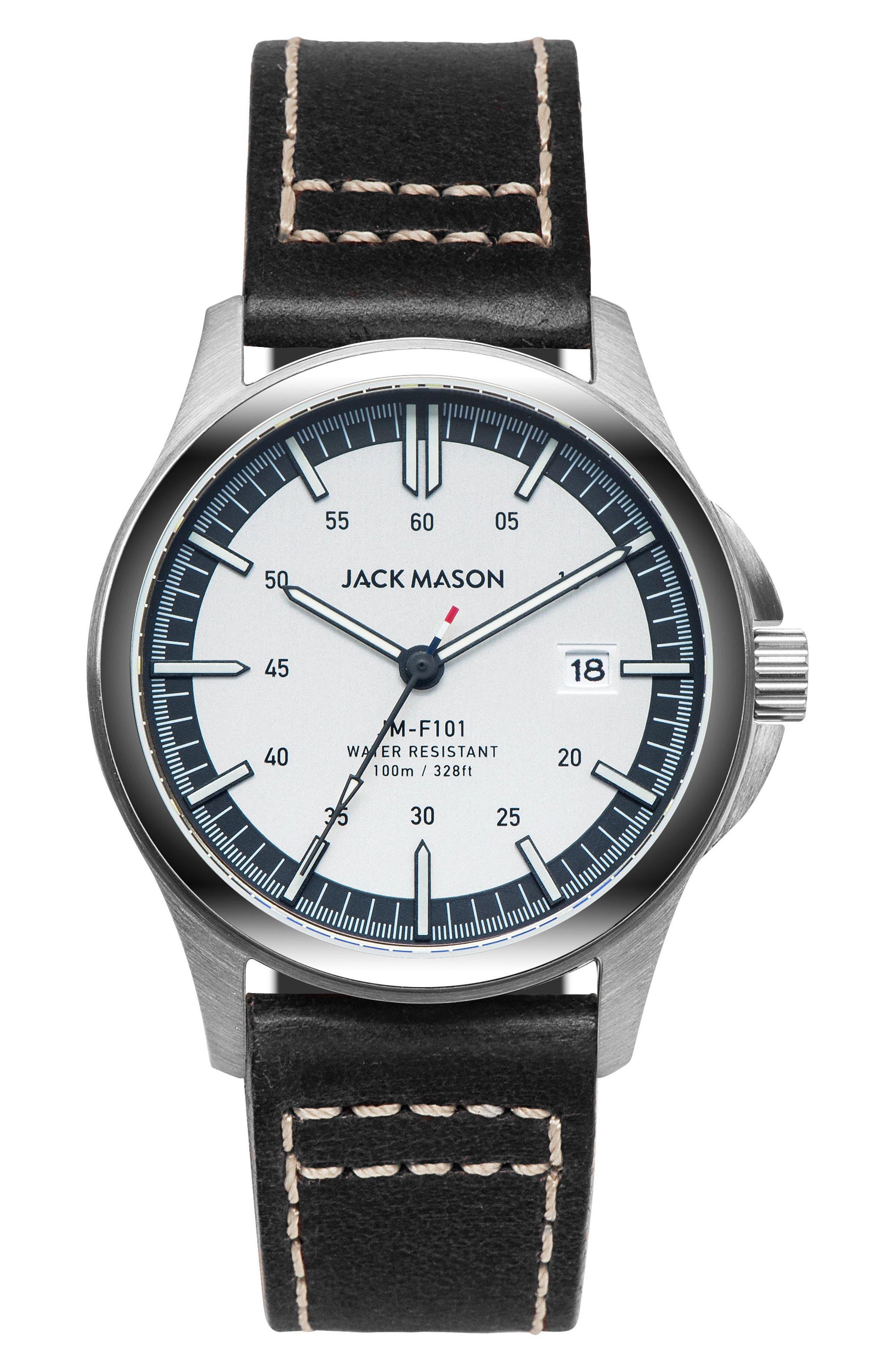 JACK MASON Field Leather Strap Watch, 46mm