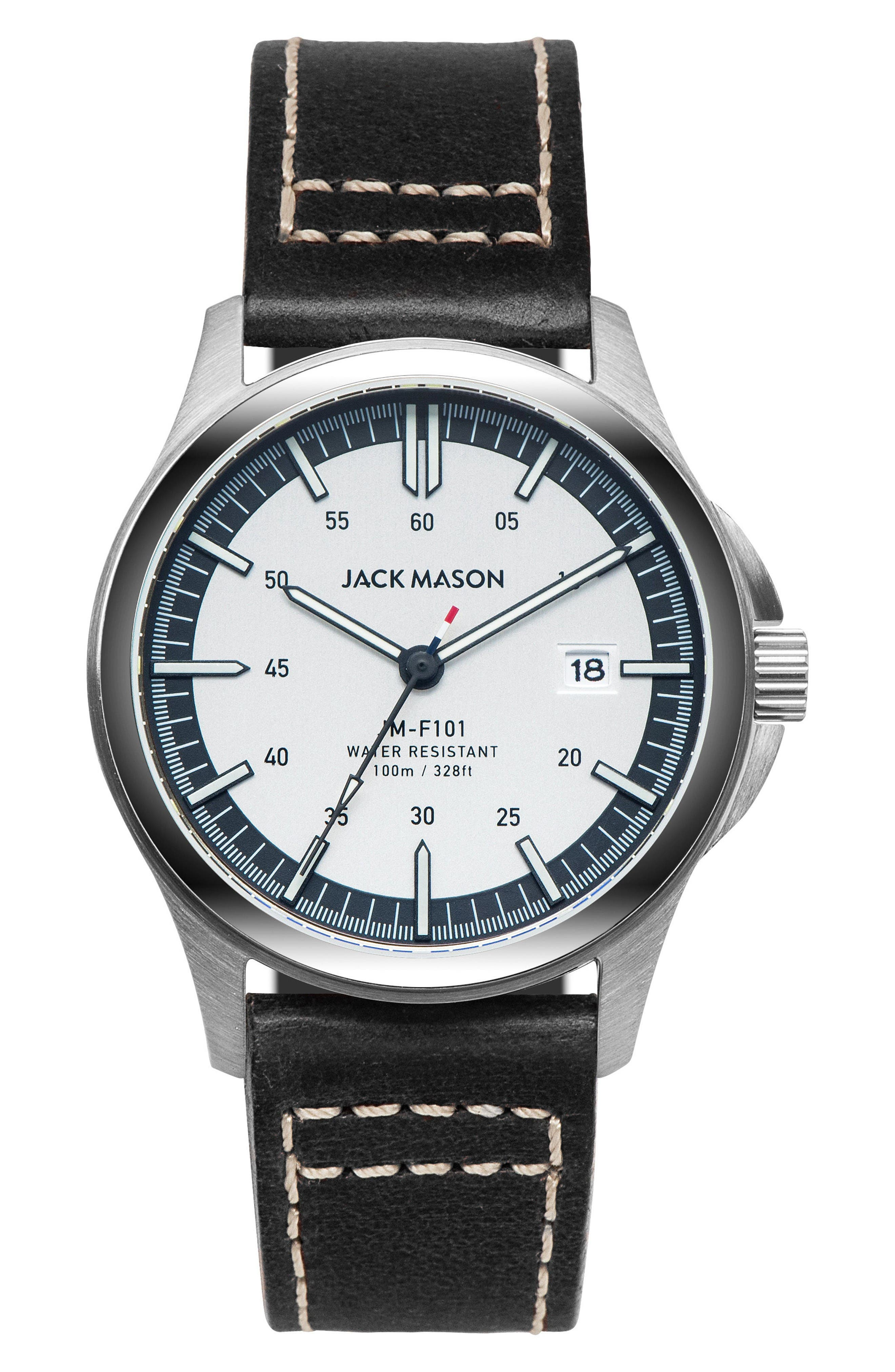Field Leather Strap Watch, 46mm,                         Main,                         color, Silver/ Black