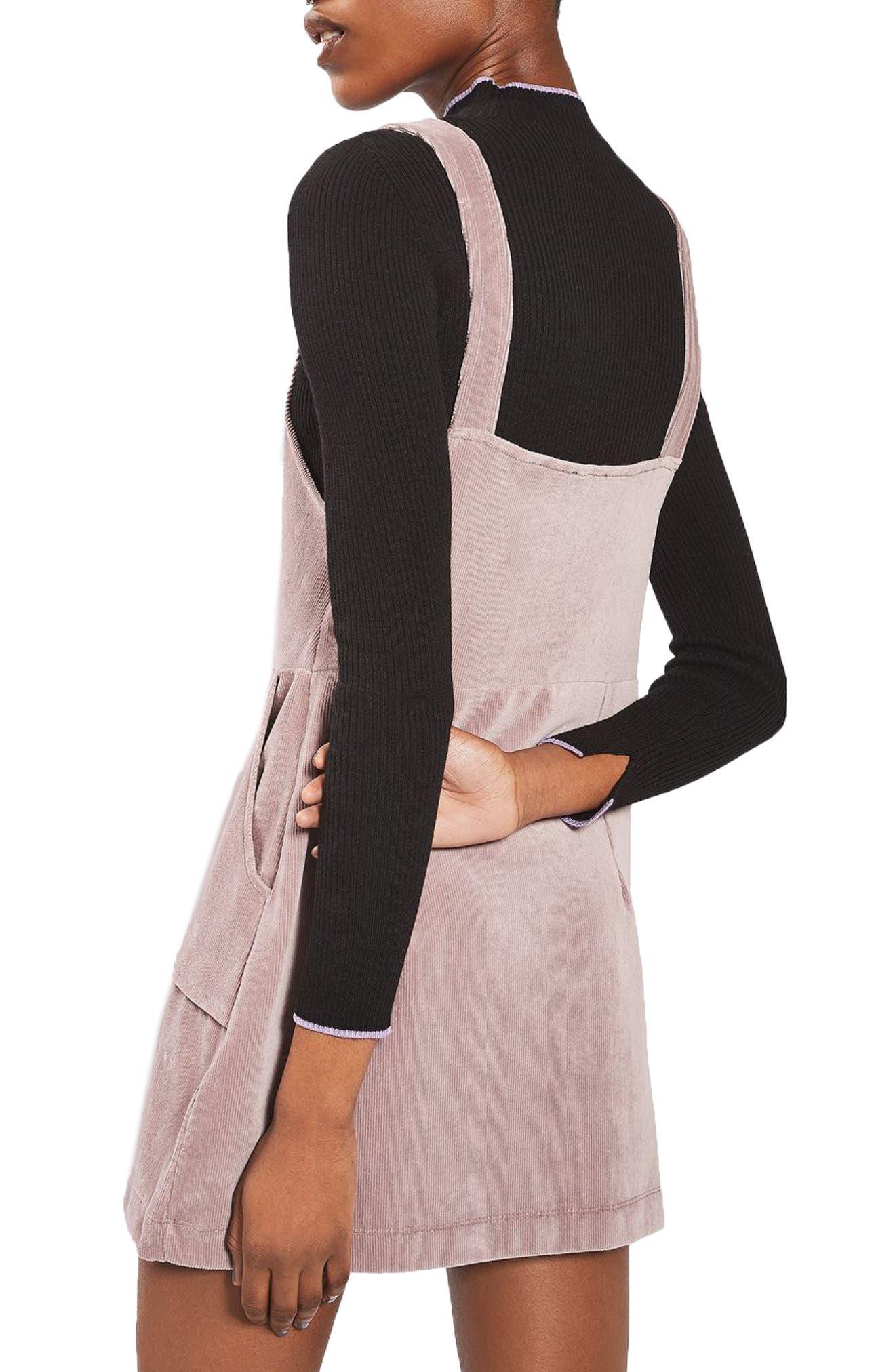 Alternate Image 3  - Topshop Velvet Corduroy Pinafore Dress (Petite)