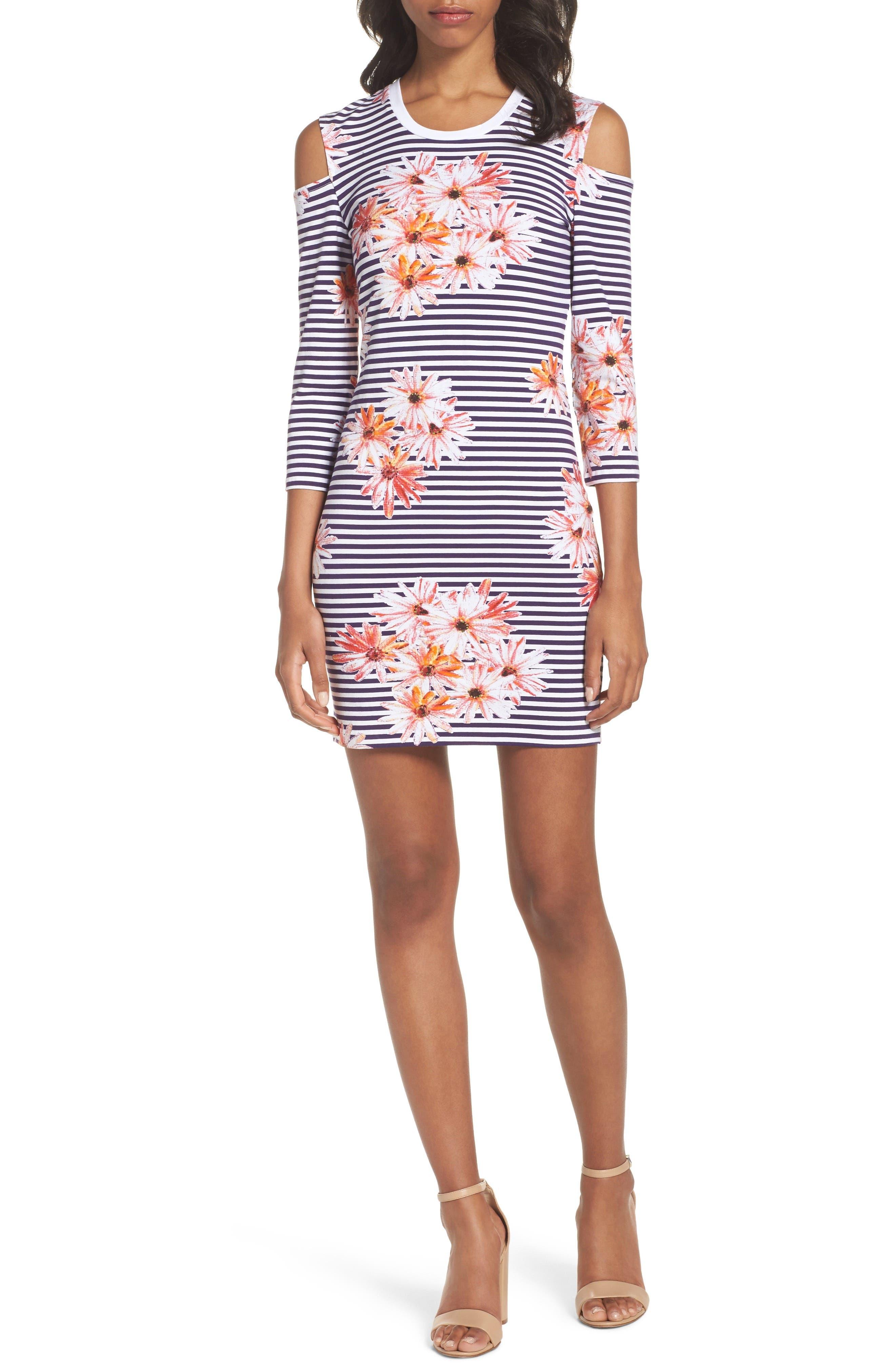 Samba Cold Shoulder Sheath Dress,                         Main,                         color, Nocturnal Multi