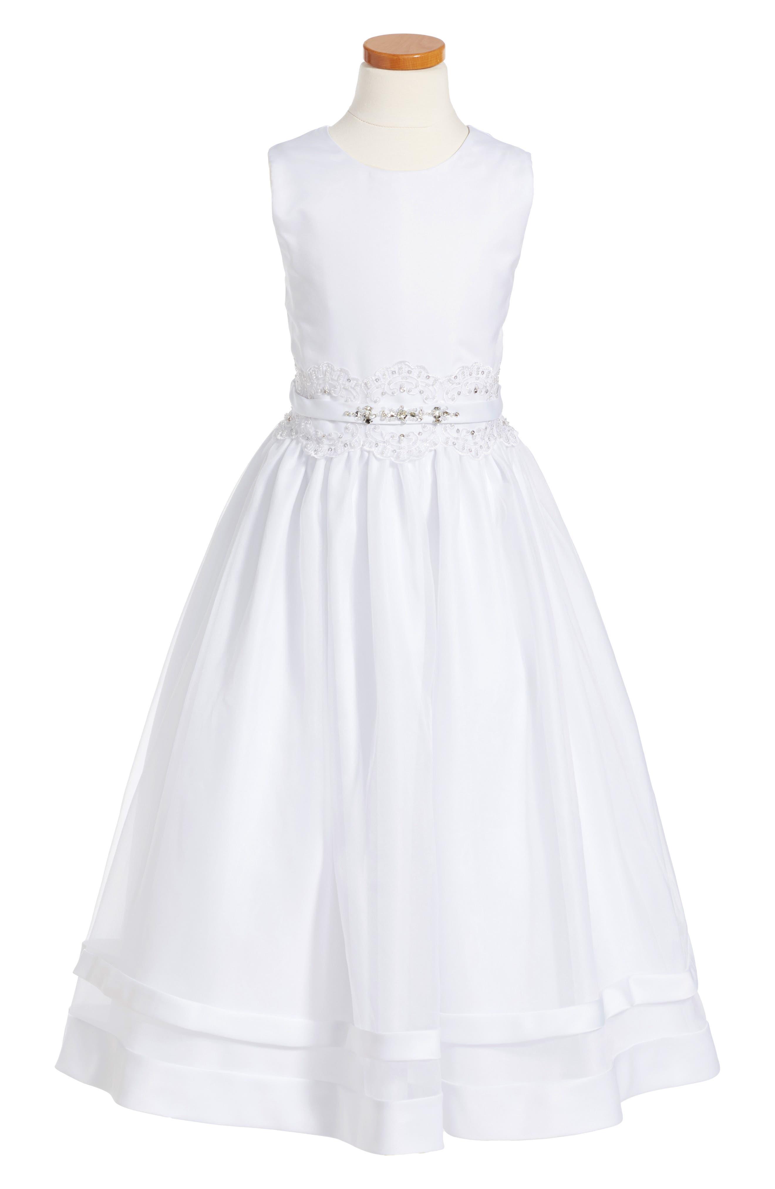Joan Calabrese for Mon Cheri Beaded Satin & Lace First Communion Dress (Little Girls & Big Girls)