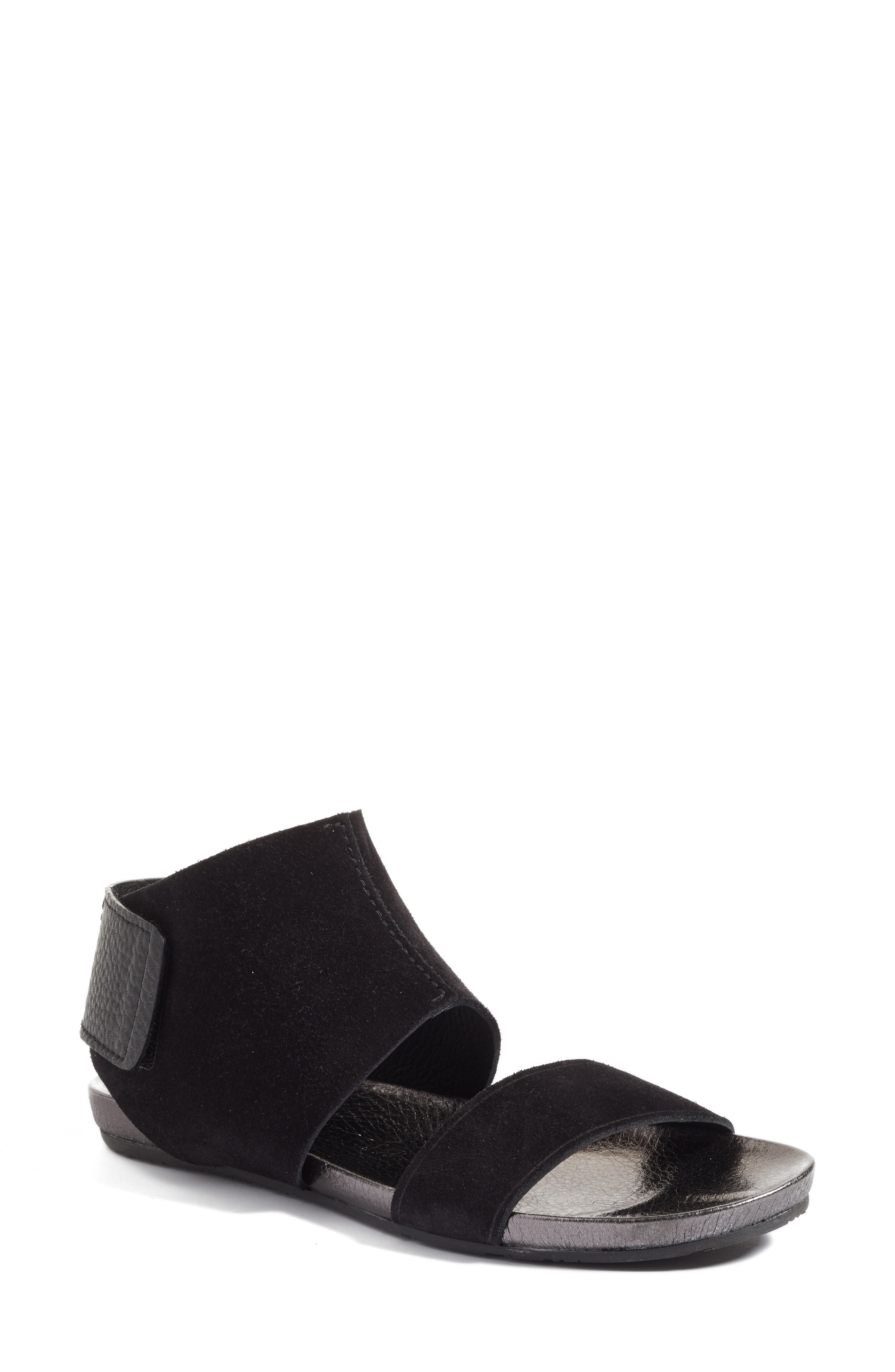 Ankle Cuff Sandal,                             Main thumbnail 1, color,                             Black Leather