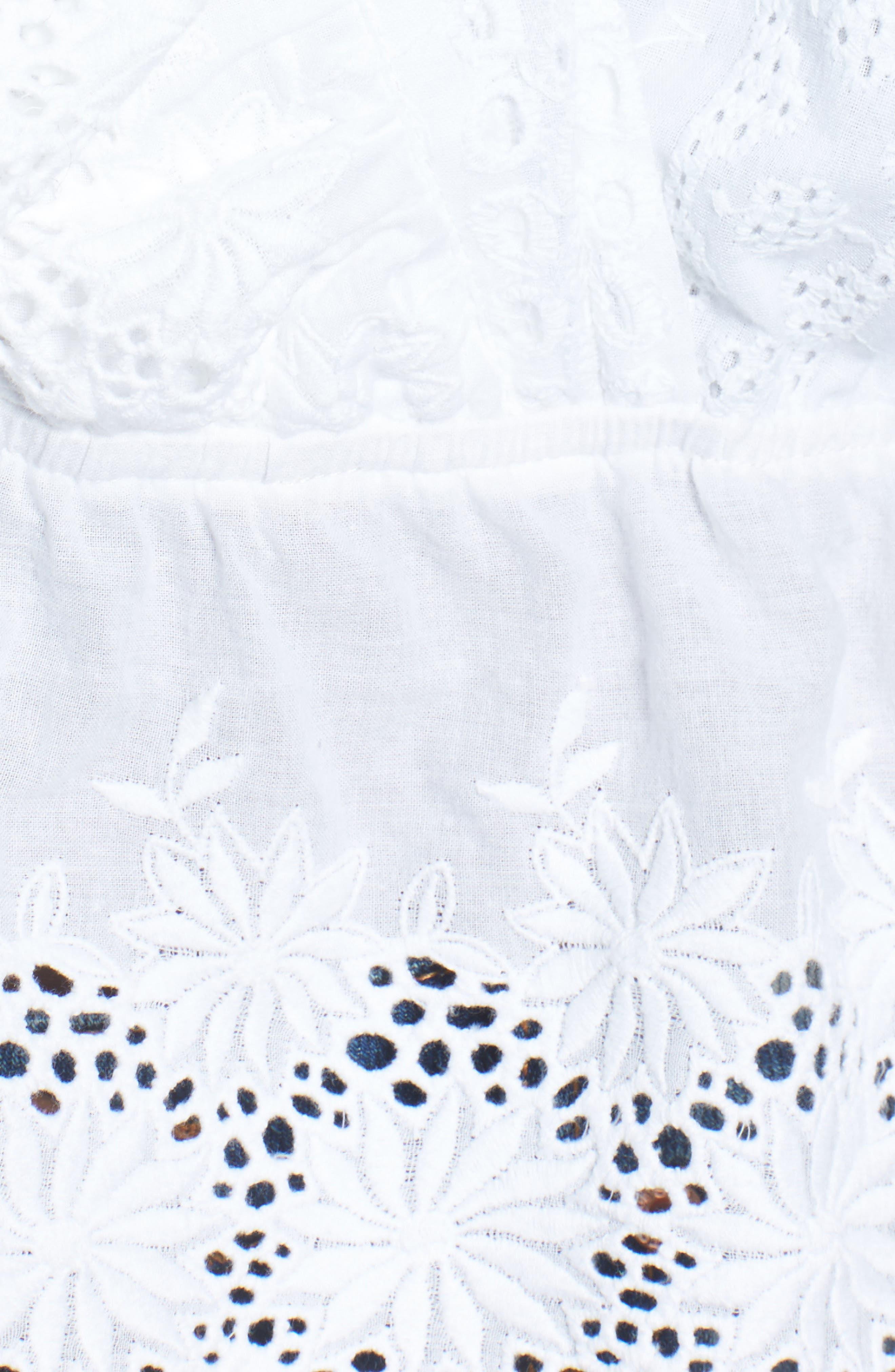 Eyelet Ruffle Sleeve Top,                             Alternate thumbnail 5, color,                             White