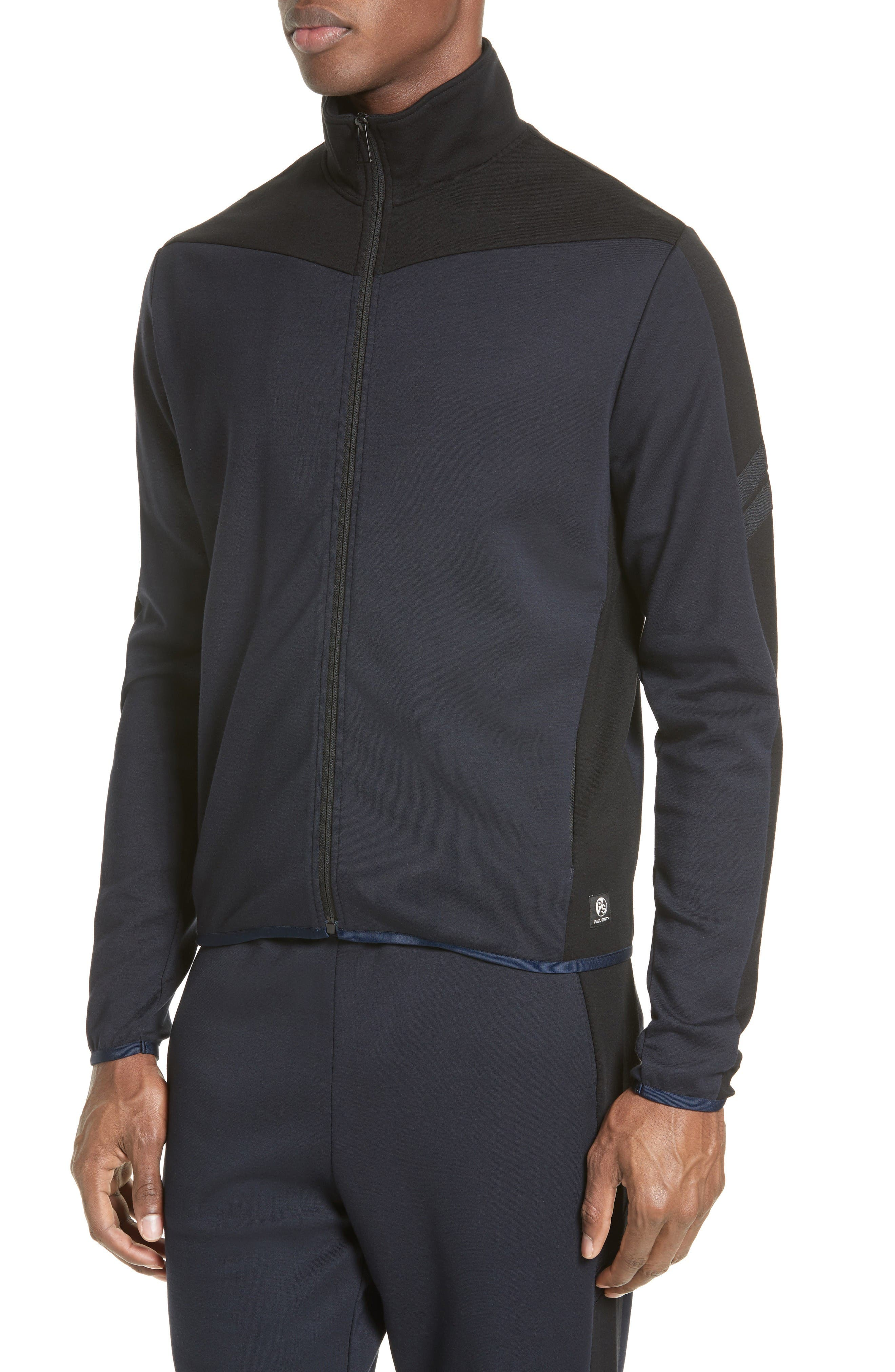 Two-Tone Track Jacket,                             Alternate thumbnail 4, color,                             Navy