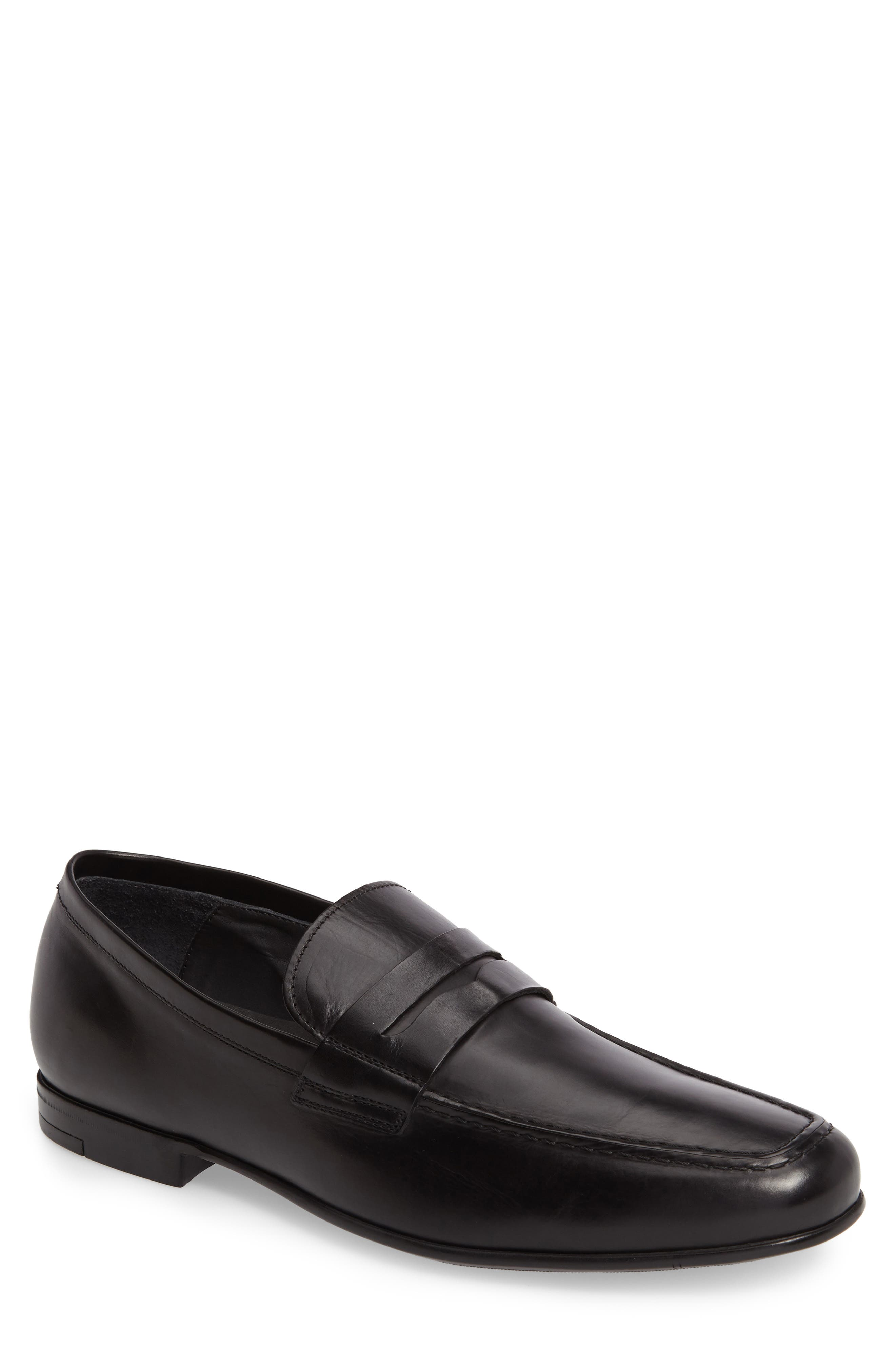 Alek Penny Loafer,                             Main thumbnail 1, color,                             Diver Nero Leather